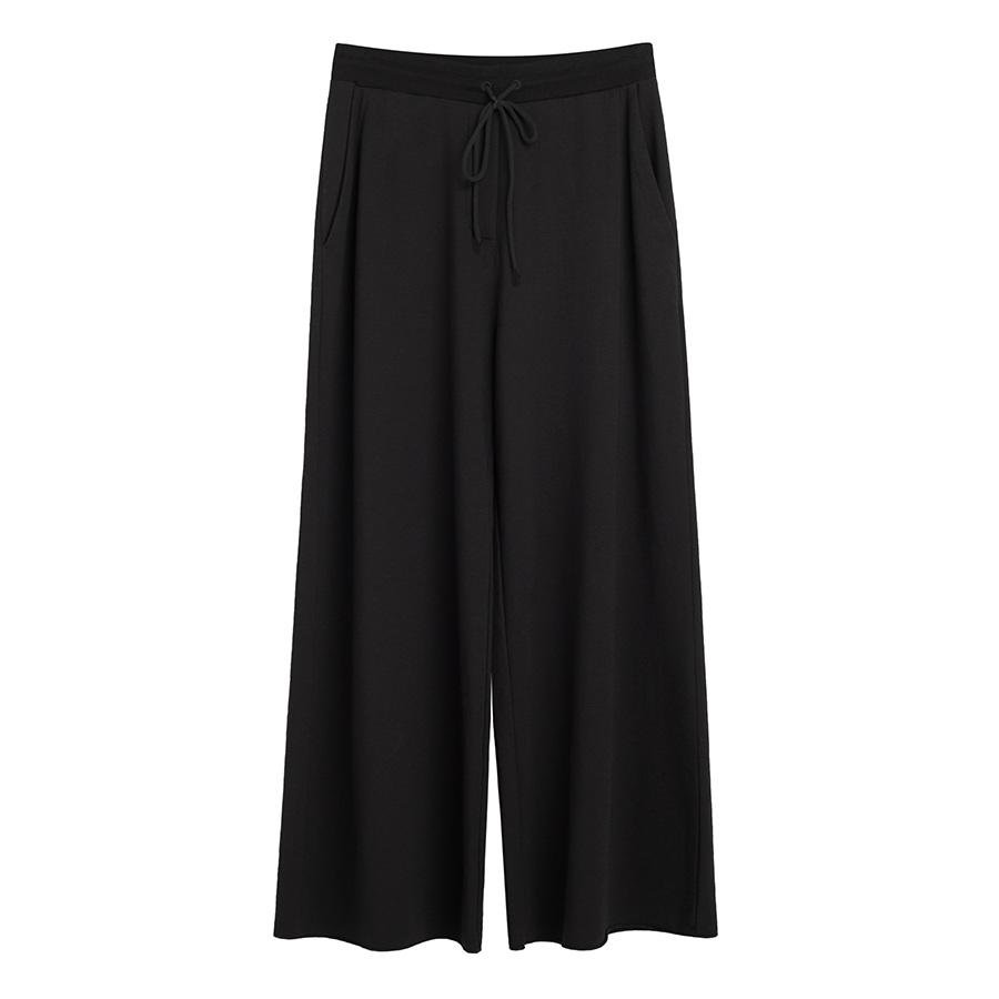 Women's French Terry Wide-Leg Cropped Pant in Black | Size: