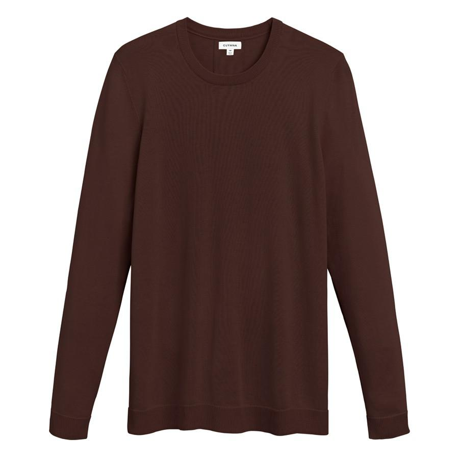 Women's Classic Cotton Cashmere Crewneck Sweater in Chocolate | Size: