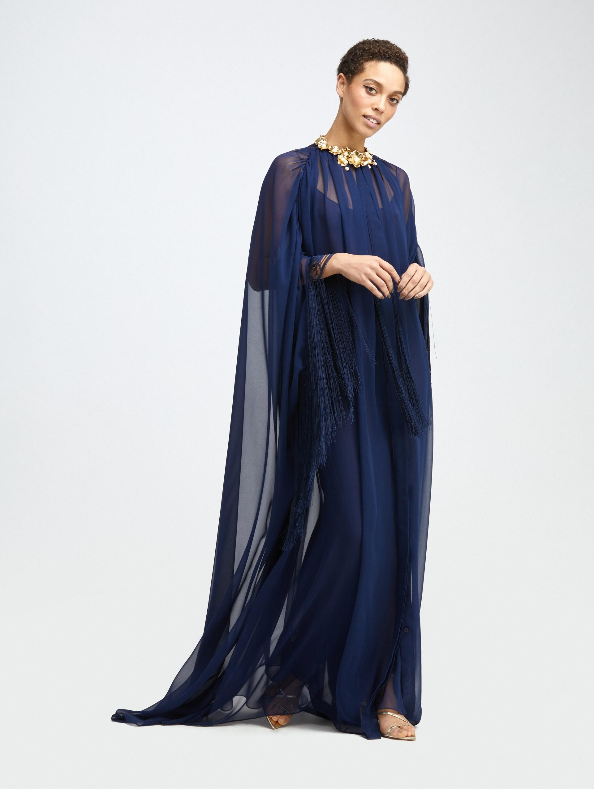 FRINGED BUTTON FRONT SILK CAFTAN