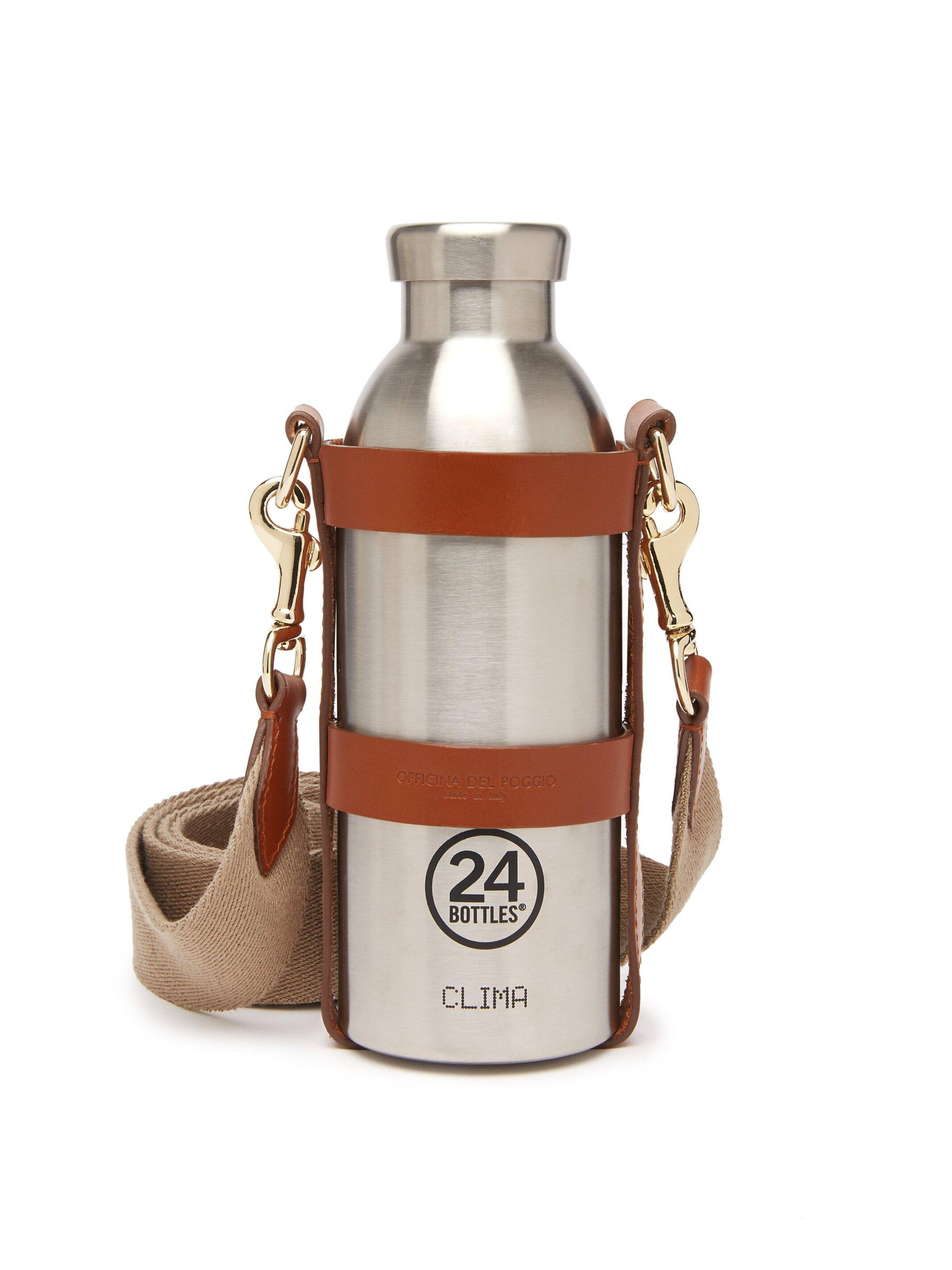 Bottle Bag with Bottle - Tan Leather