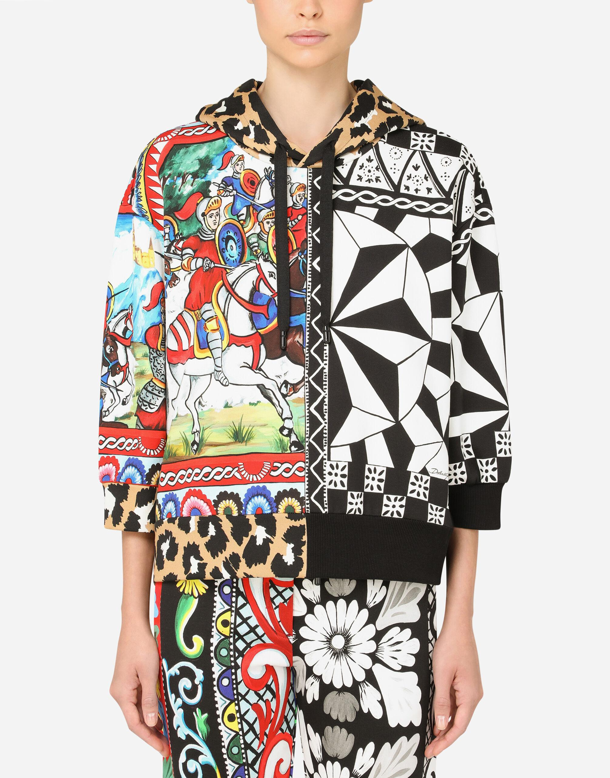 Jersey hoodie with patchwork print