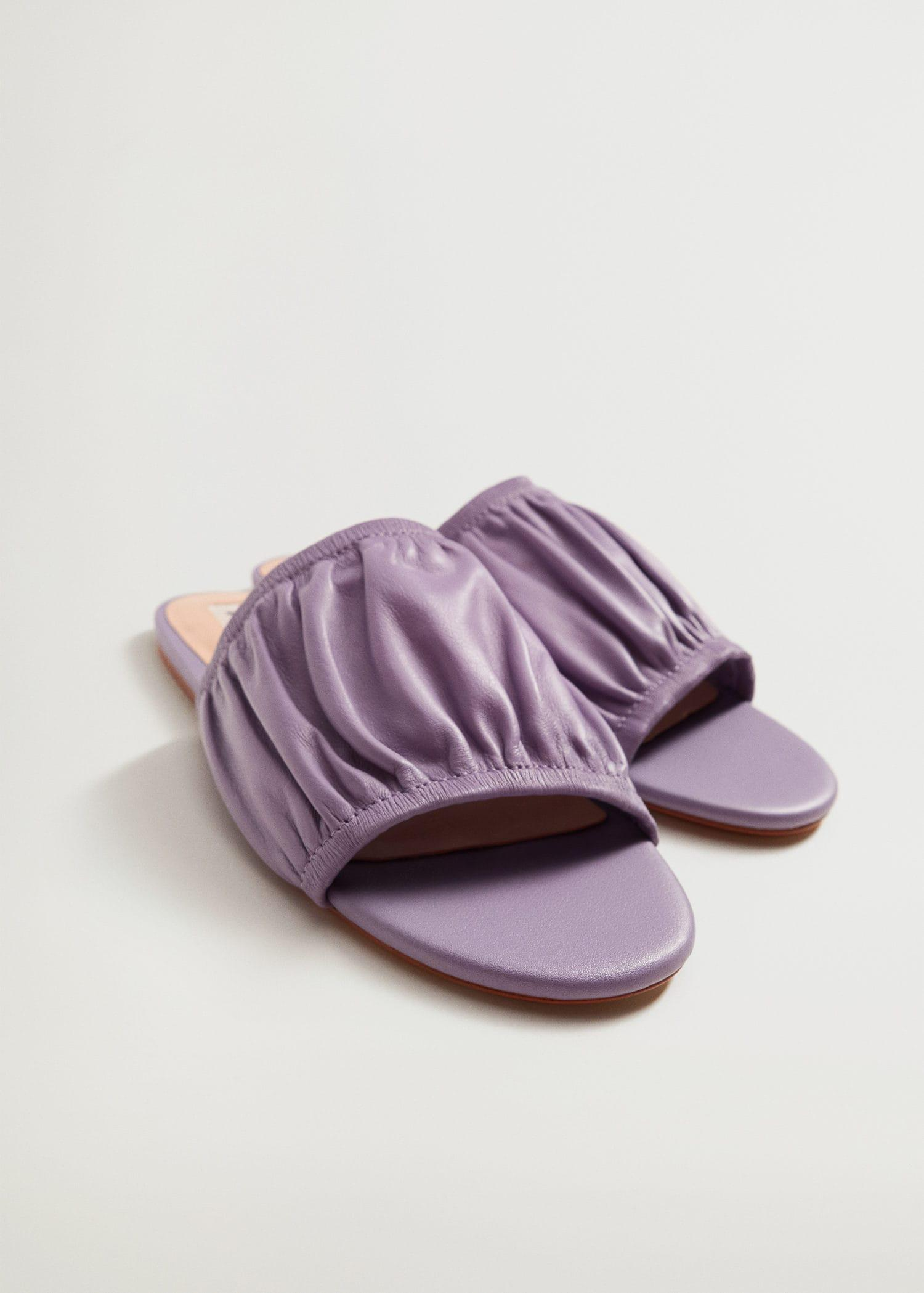 Ruched leather sandals 4