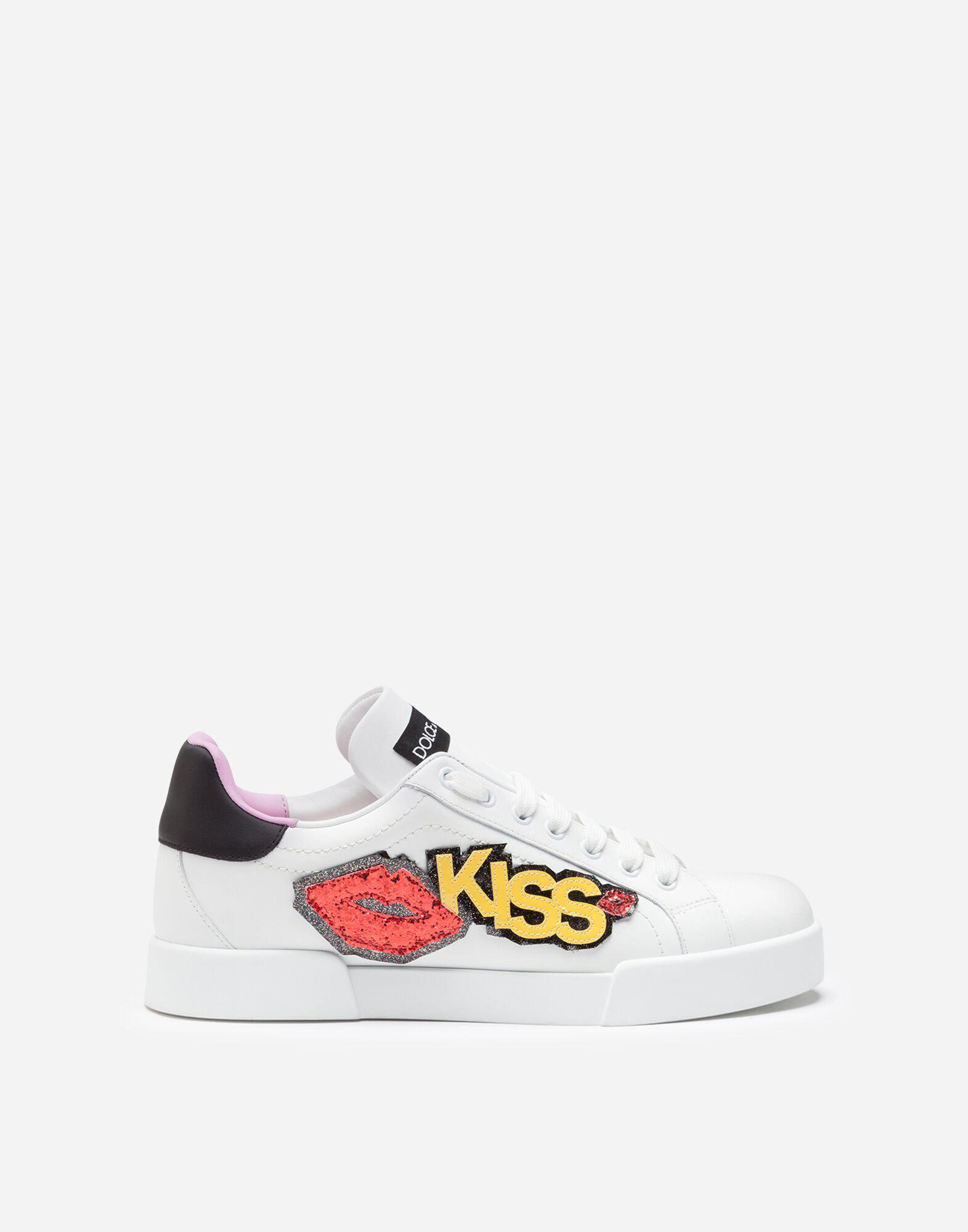 Portofino sneakers in calfskin with kiss patch