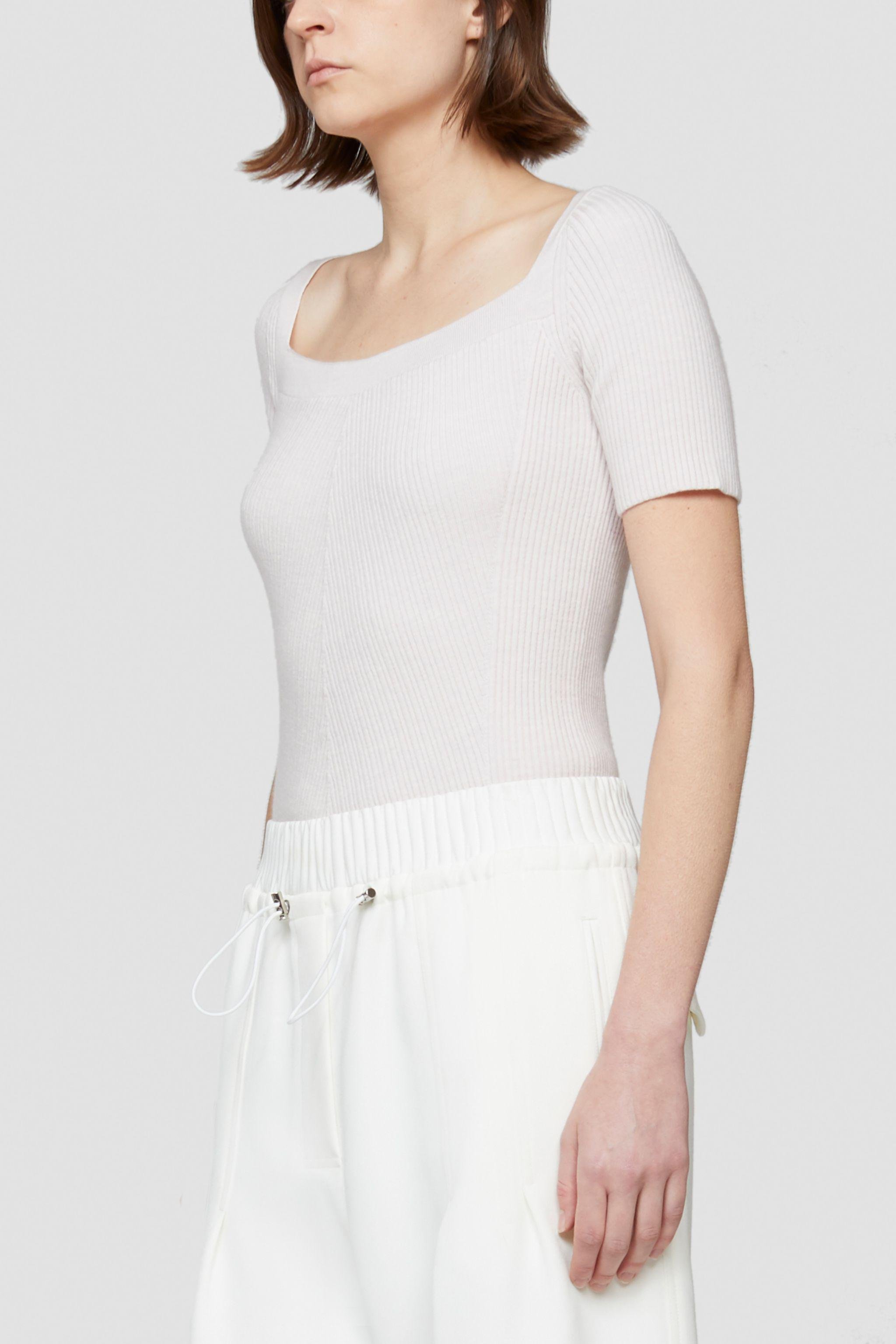 Open Neck Short Sleeve Ribbed Sweater 1