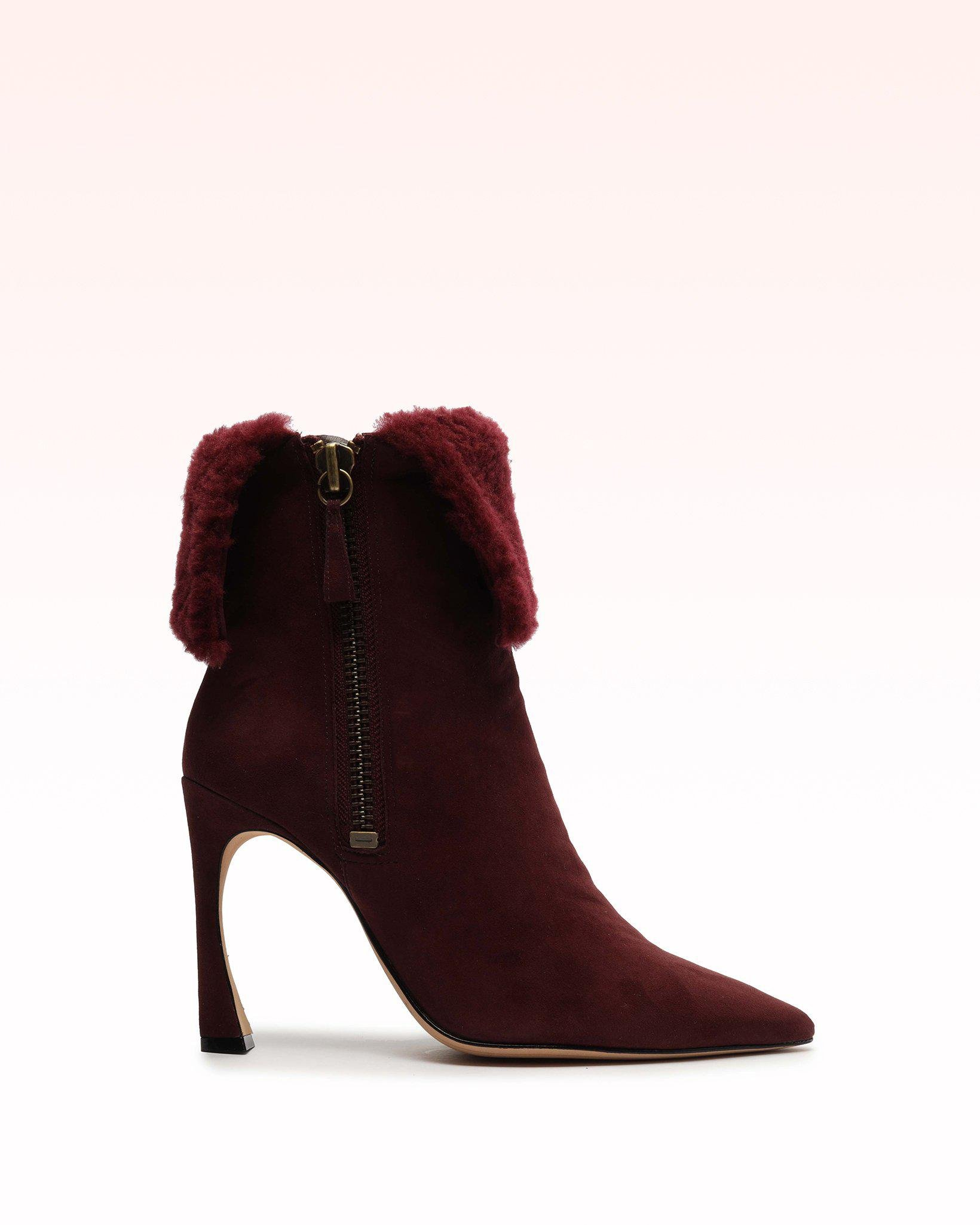 Mirabella 100 Curly Suede & Shearling Bootie