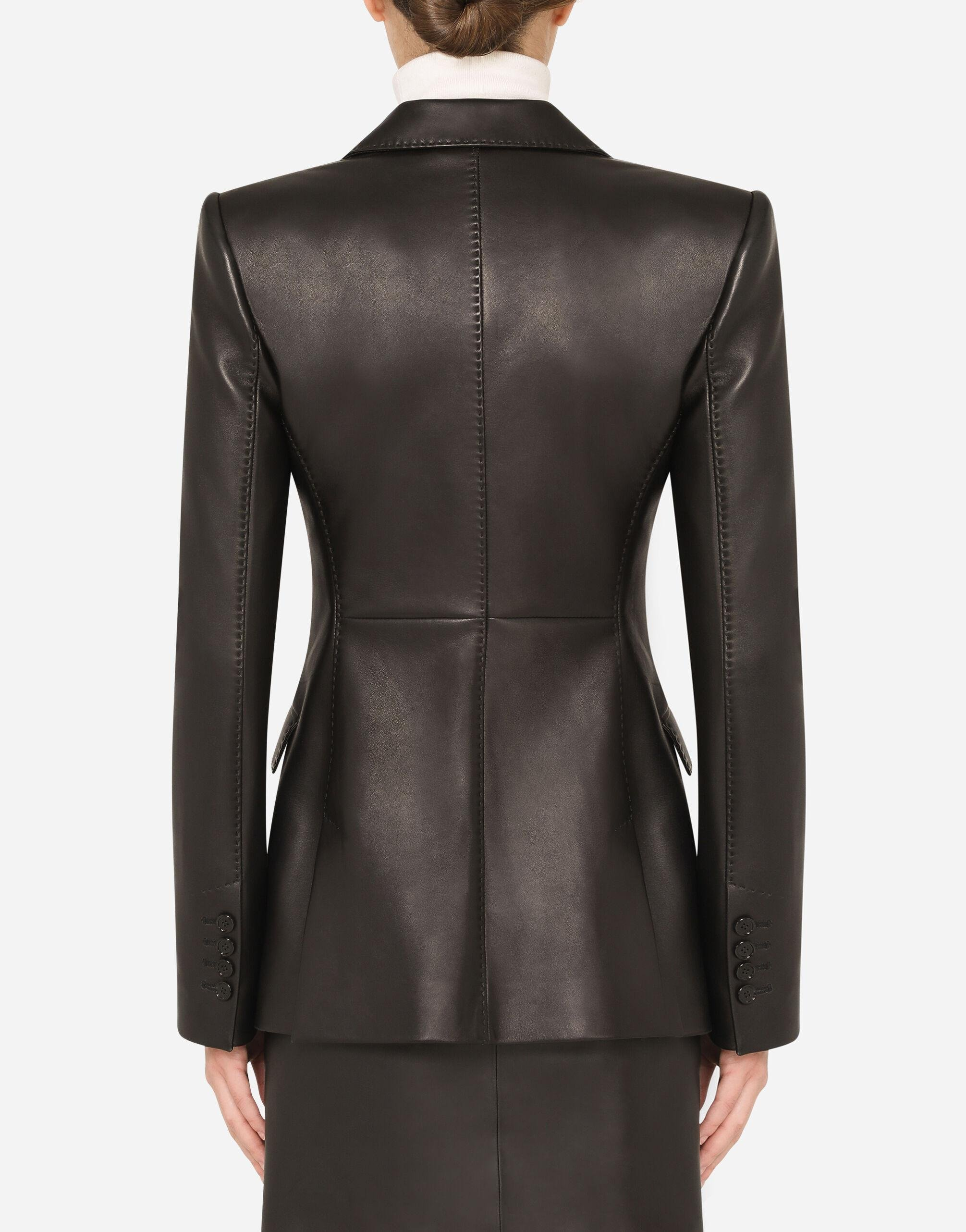 Single-breasted leather blazer 1