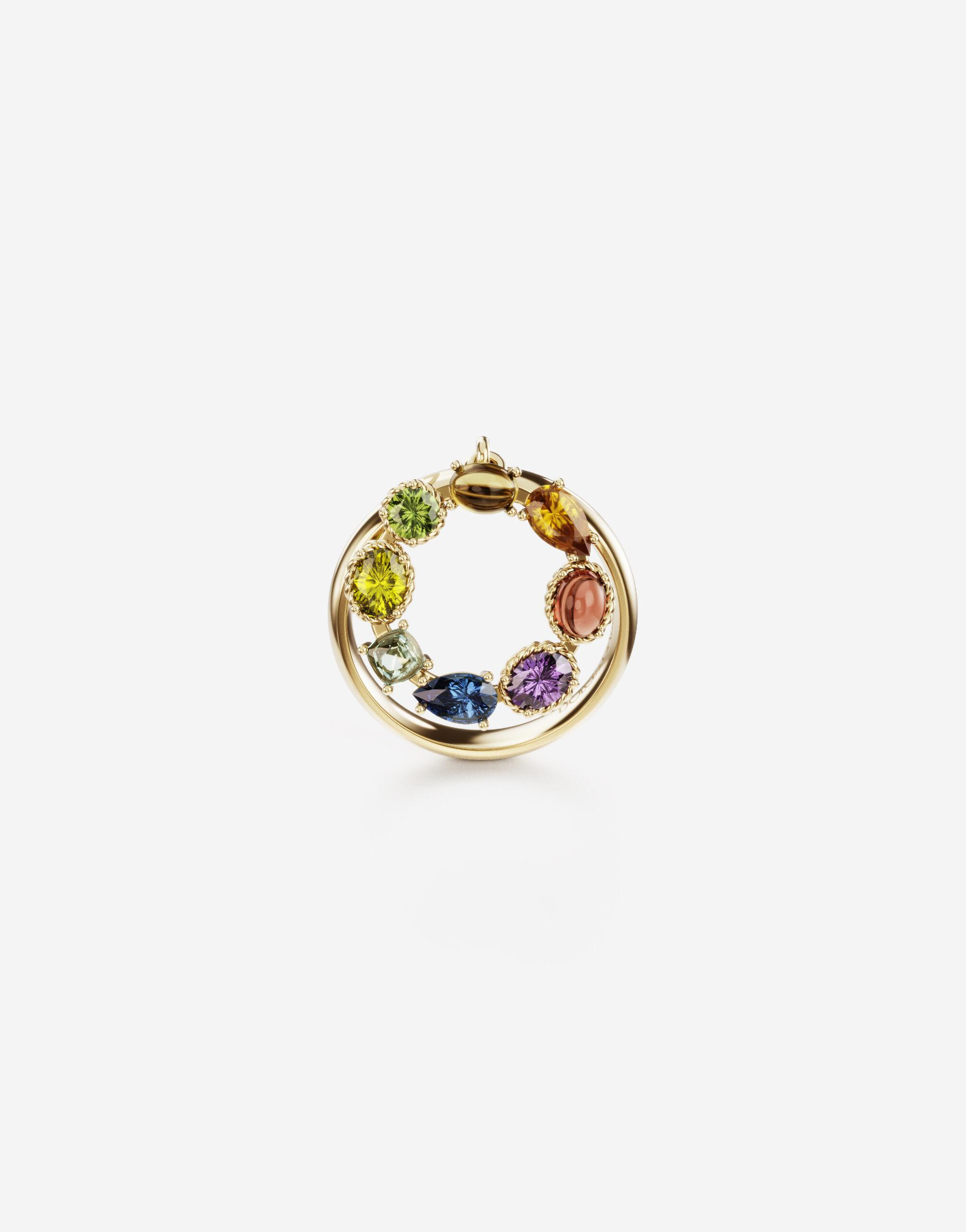 Rainbow alphabet O ring in yellow gold with multicolor fine gems