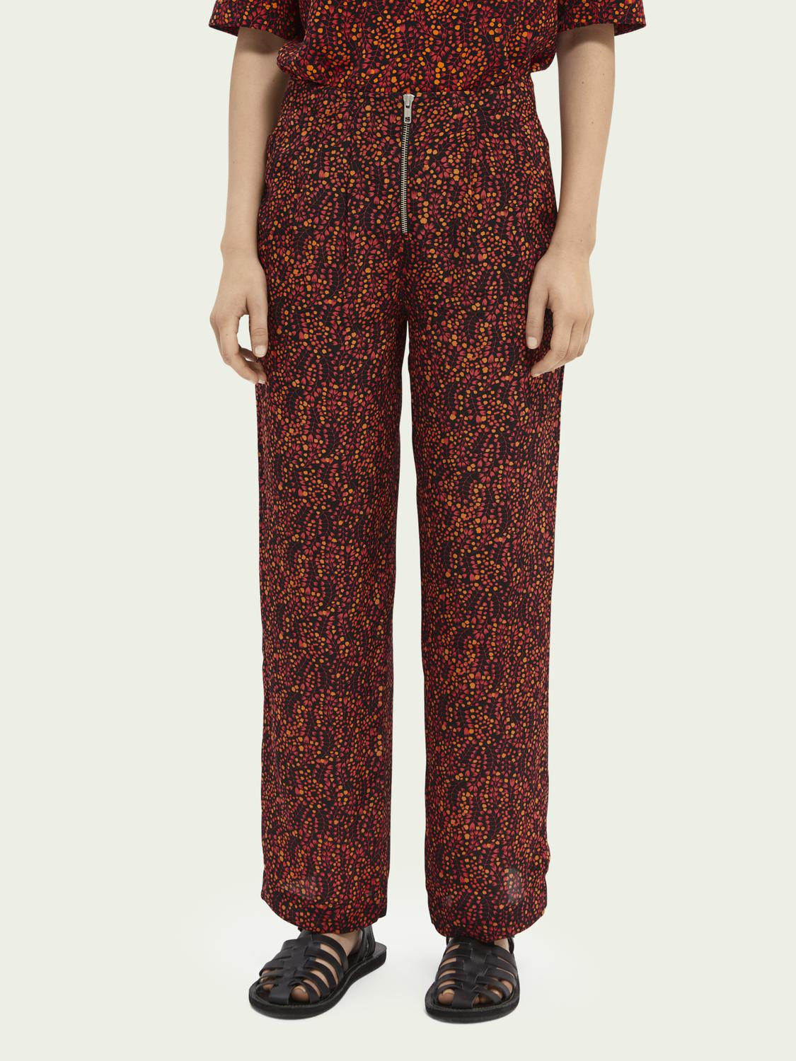 Printed mid-rise trousers