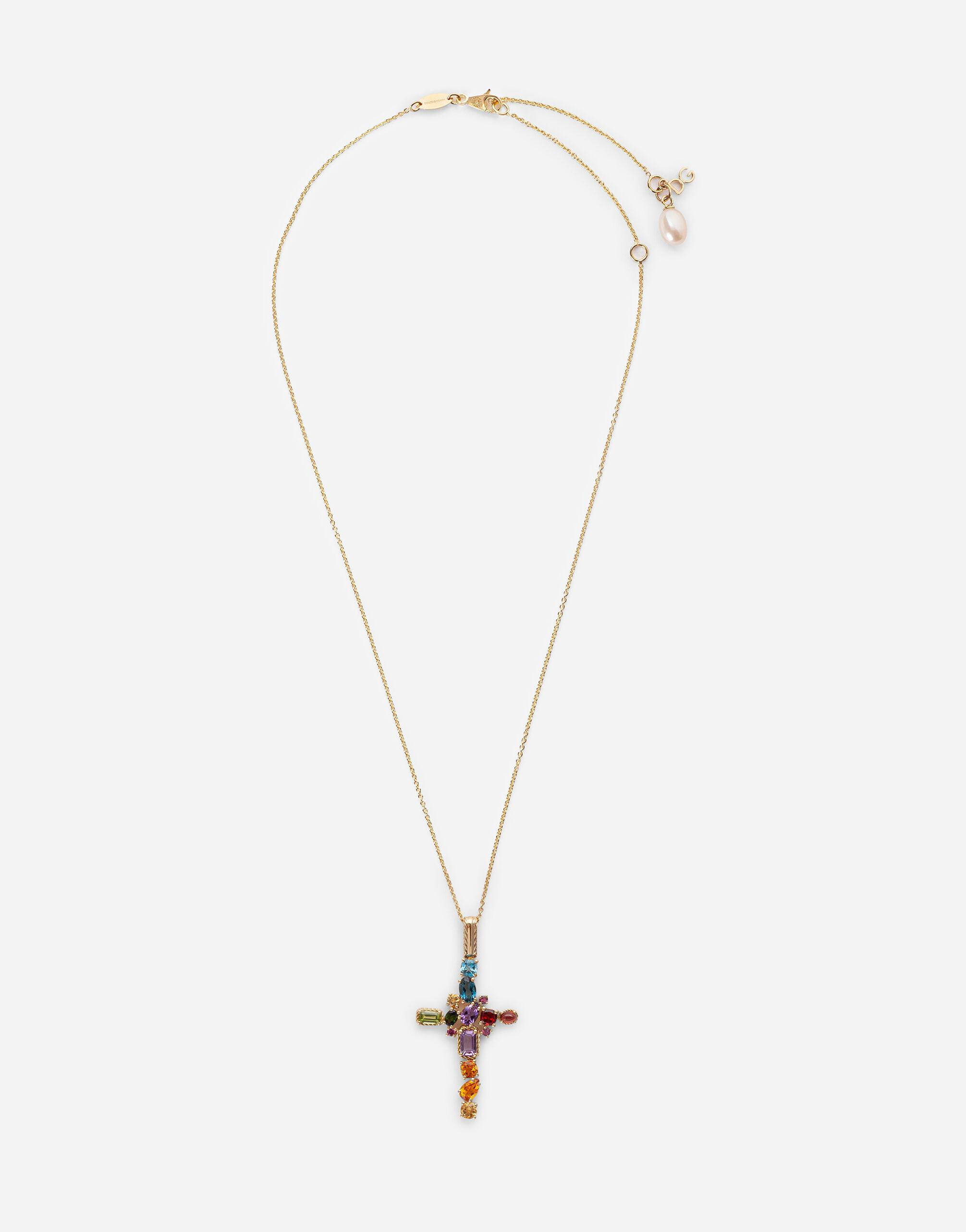 Rainbow alphabet Pendant in yellow gold with multicolor fine gems