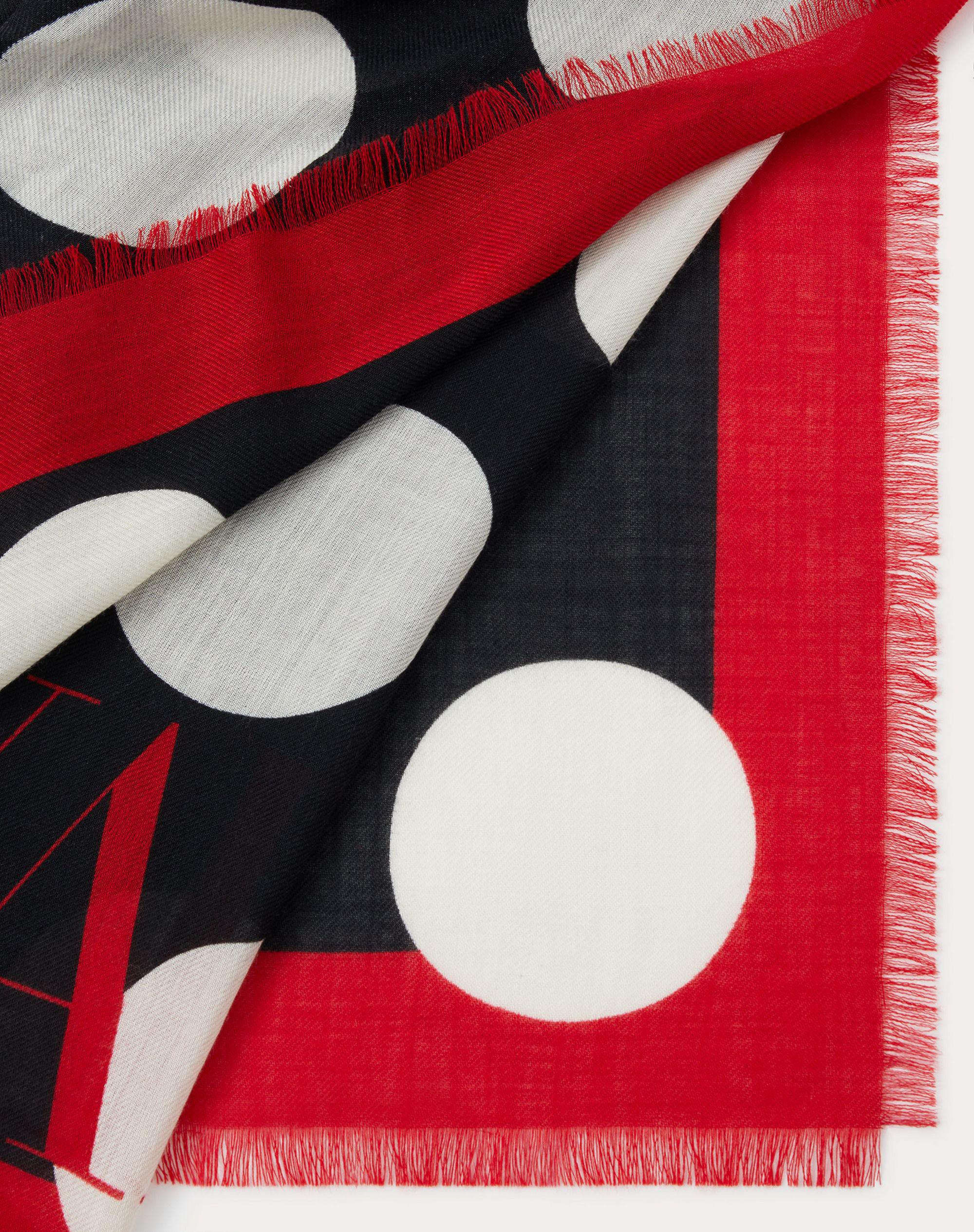 Dots print cashmere and silk shawl 140x140 cm / 55.1x55.1 in. 2