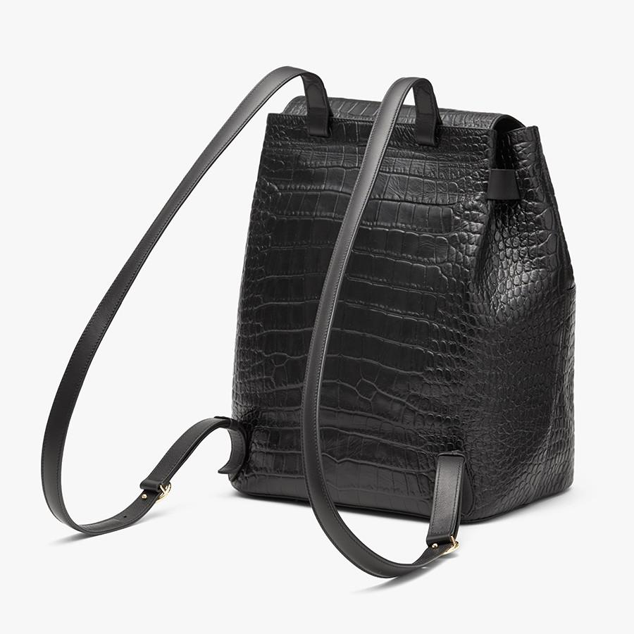 Women's Leather Backpack in Textured Black | Croc-Embossed by Cuyana 4