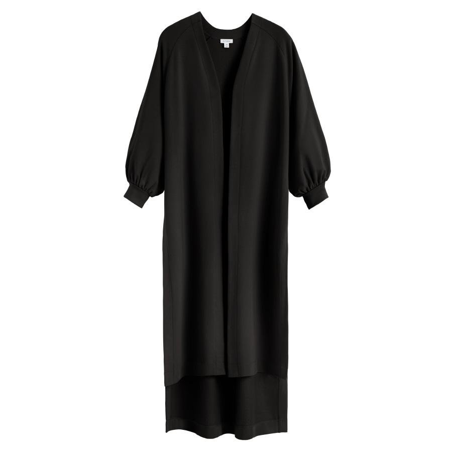 Women's French Terry Long Cardigan in Black | Size: