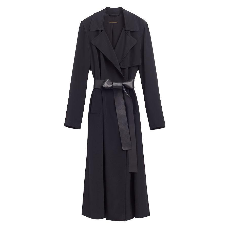 Women's Silk Classic Trench in Black | Size: