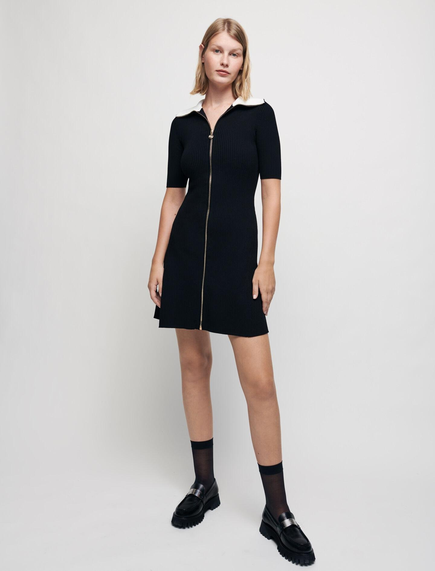 RIBBED KNIT DRESS WITH ZIP COLLAR