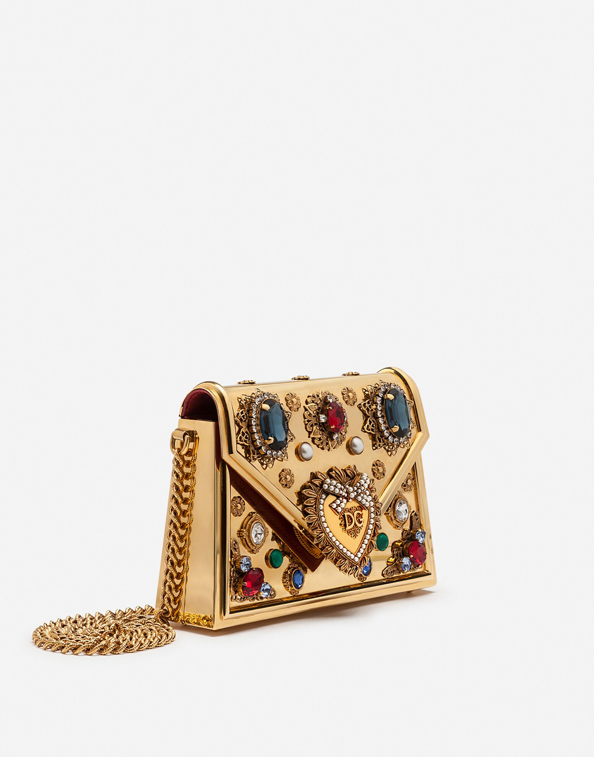 Small metallic Devotion bag with bejeweled detailing 1