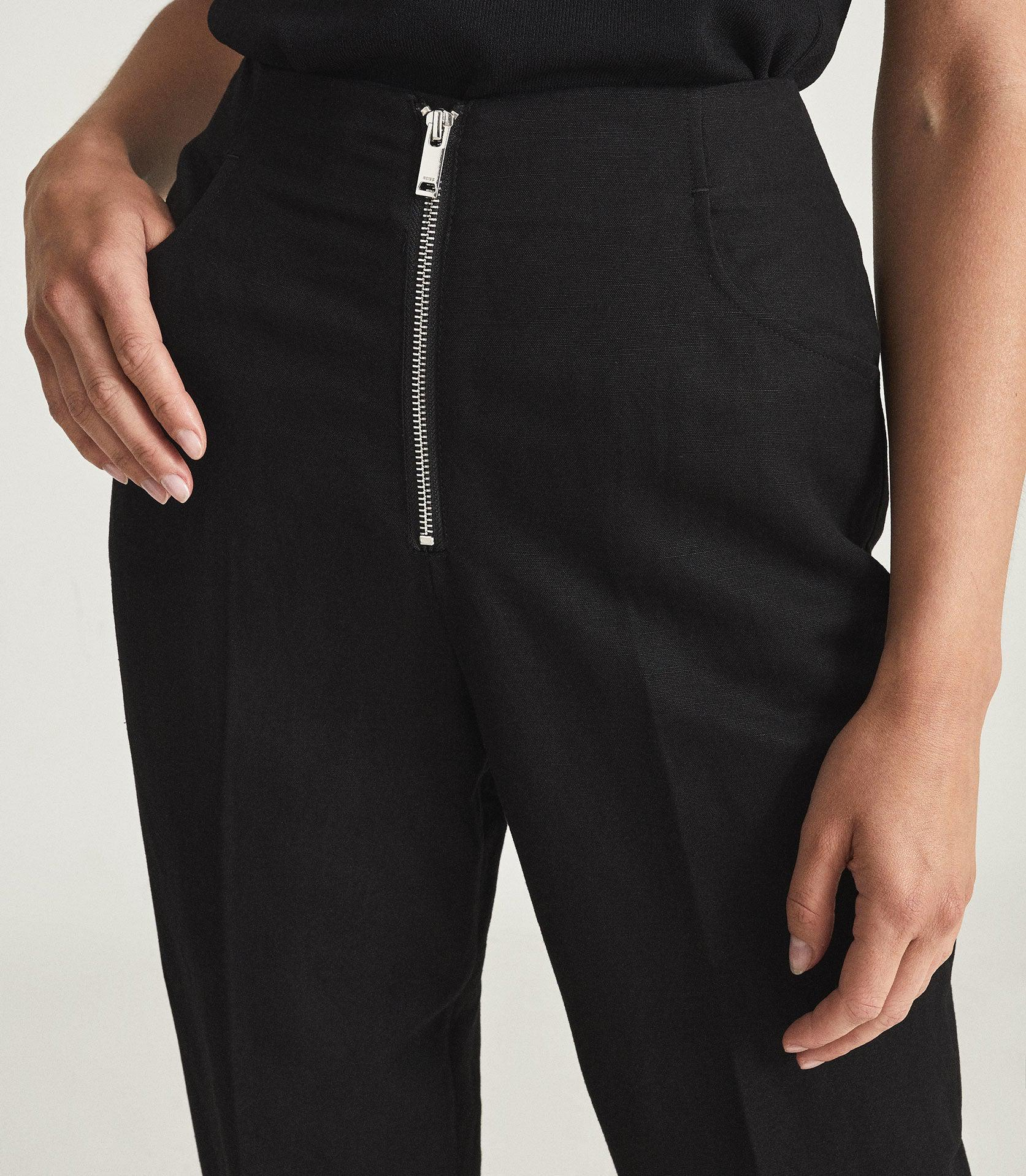 CALLY - LINEN BLEND TROUSERS WITH EXPOSED ZIP 5