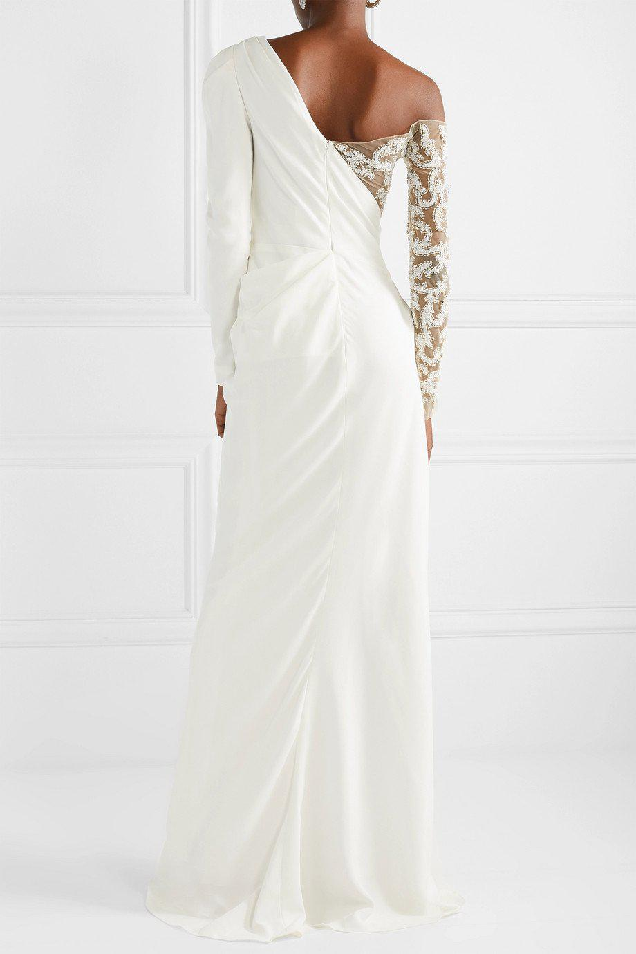 DRAPED CREPE EMBROIDERED GOWN 1