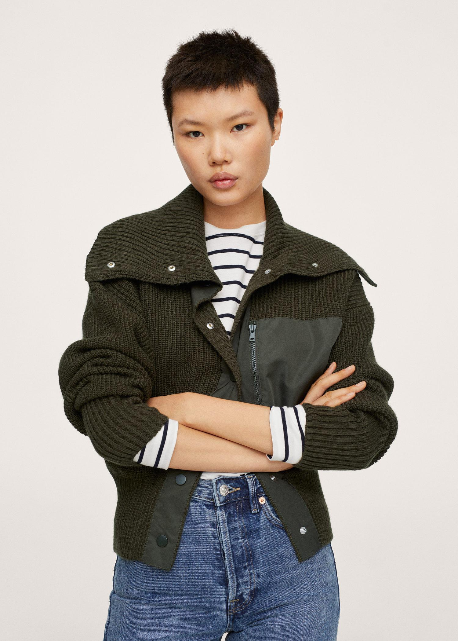 Combined knit jacket