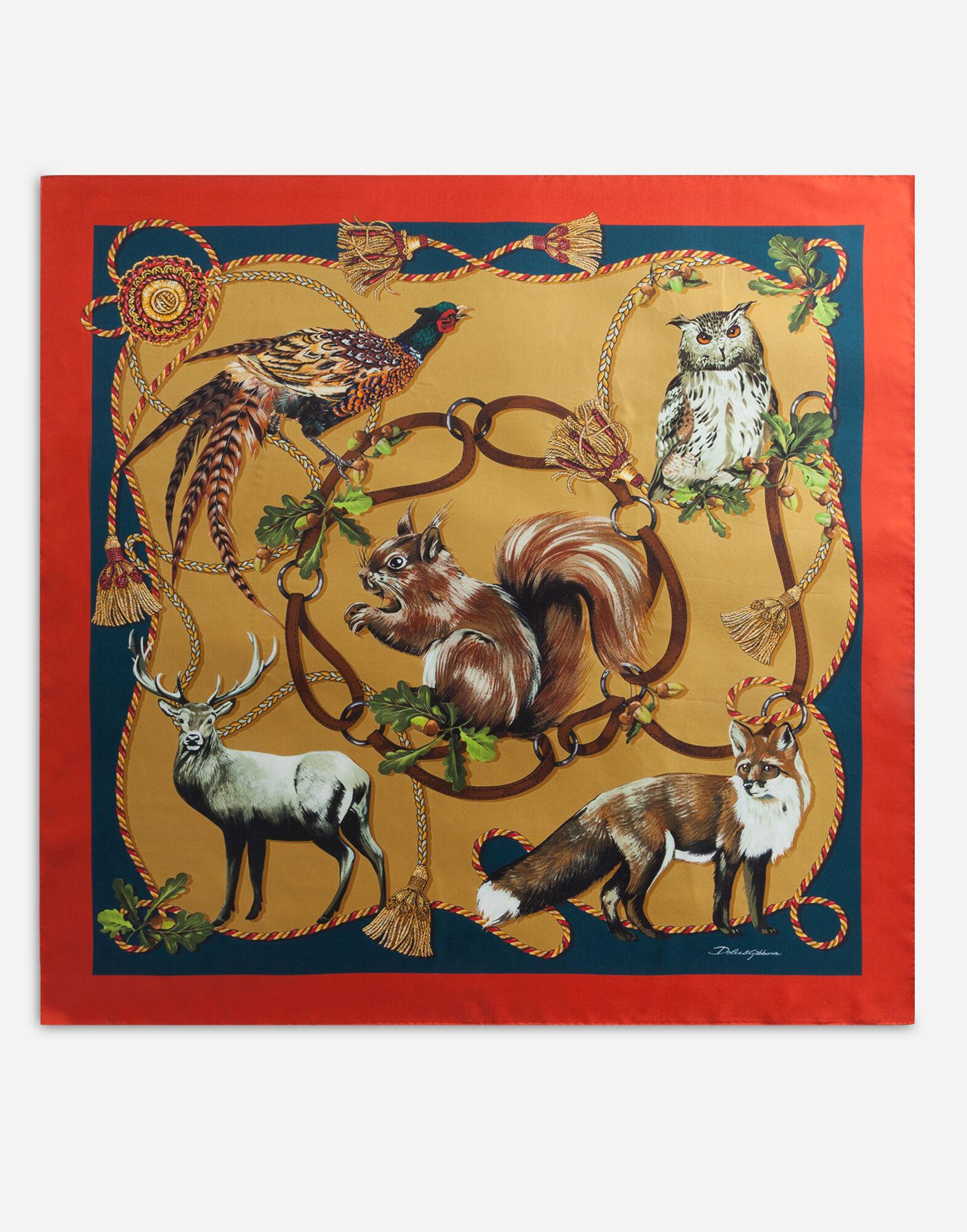 Twill foulard with animals of the forest print: 90 x 90cm - 35 x 35 inches