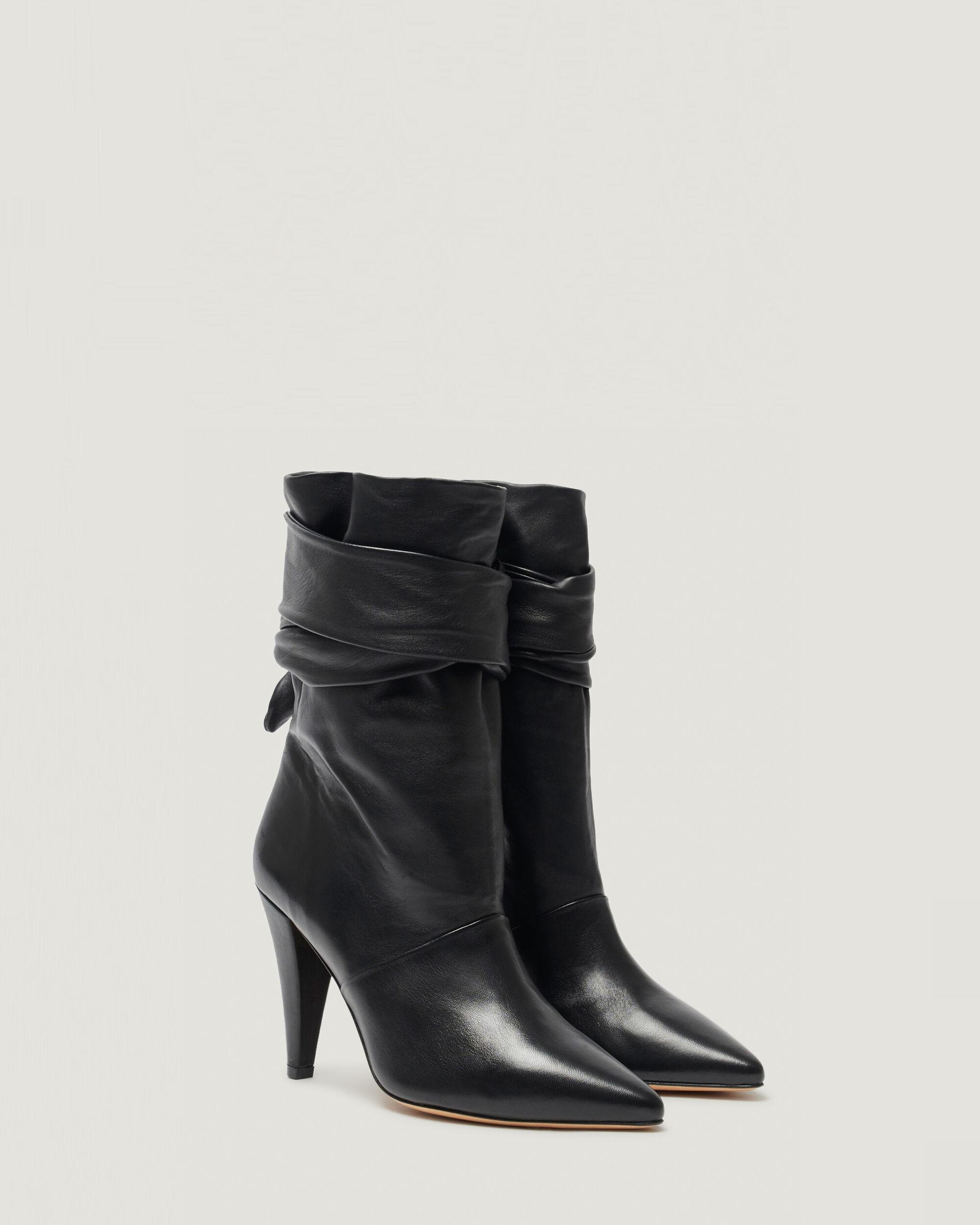 NORI ANKLE TIE POINTED LEATHER BOOTIE 1