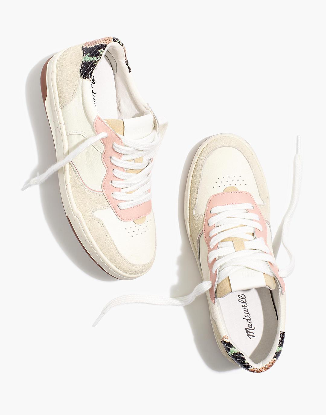 Court Sneakers in Colorblock Suede and Snakeskin Embossed Leather