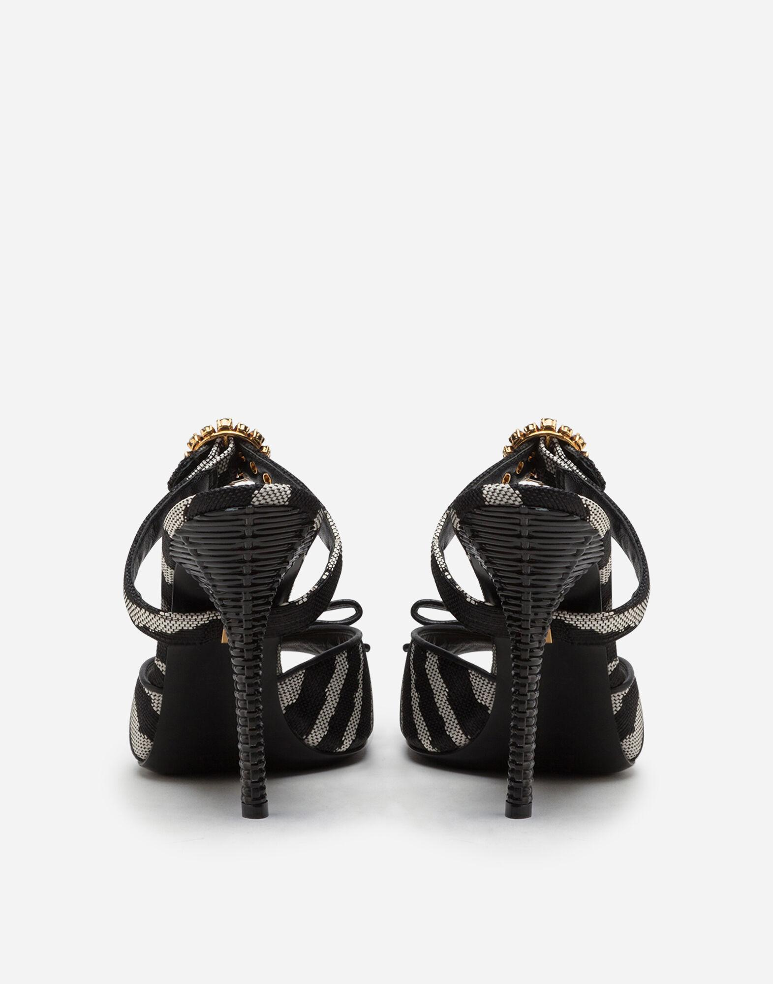 Mules in raffia jacquard with zebra print with bejeweled buckle 2