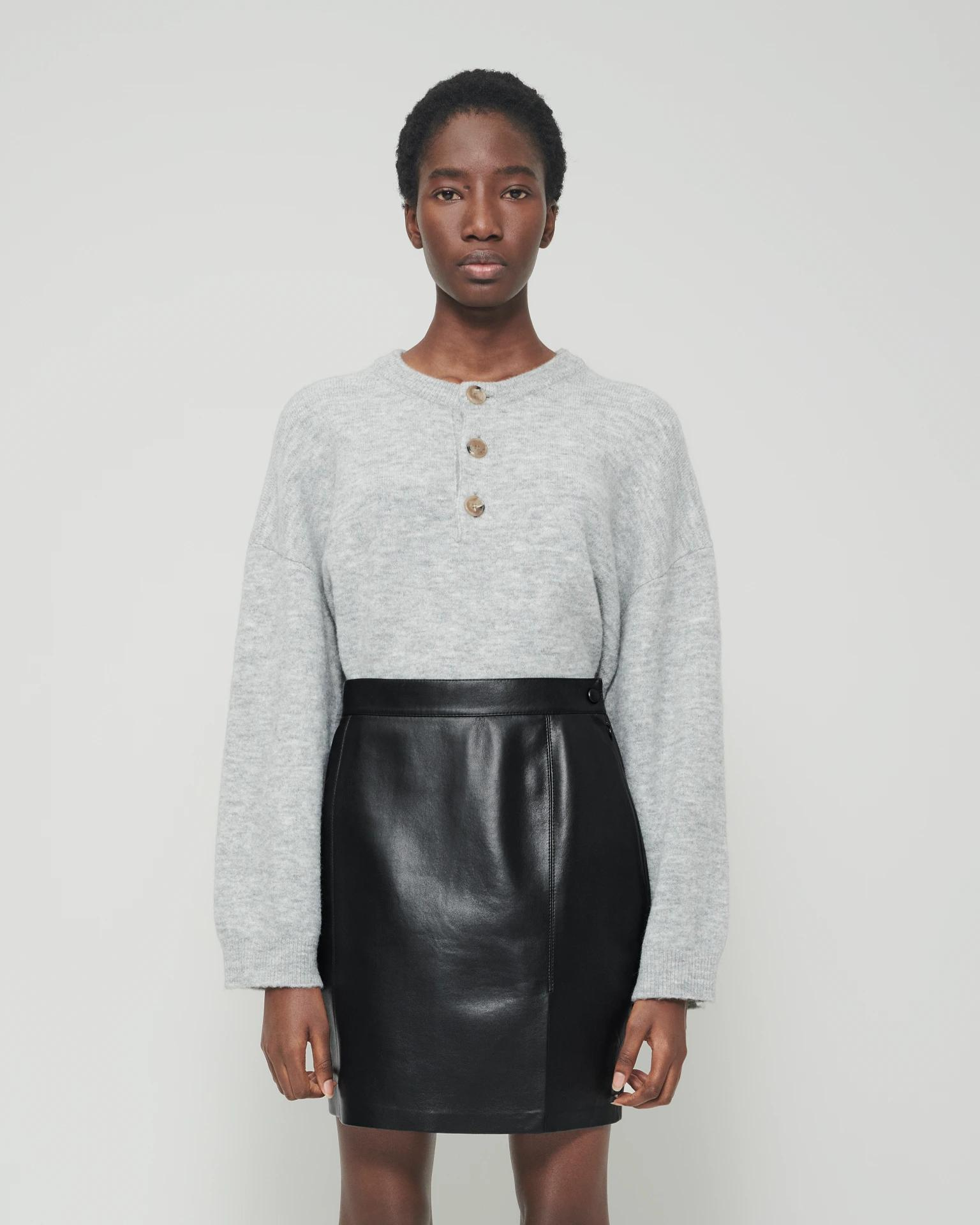 LAMEE - Fluffy-knit sweater - Heather gray