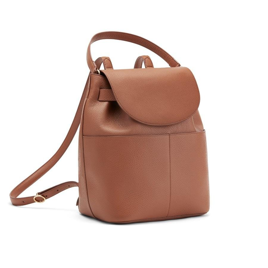 Women's Leather Backpack in Caramel | Pebbled Leather by Cuyana
