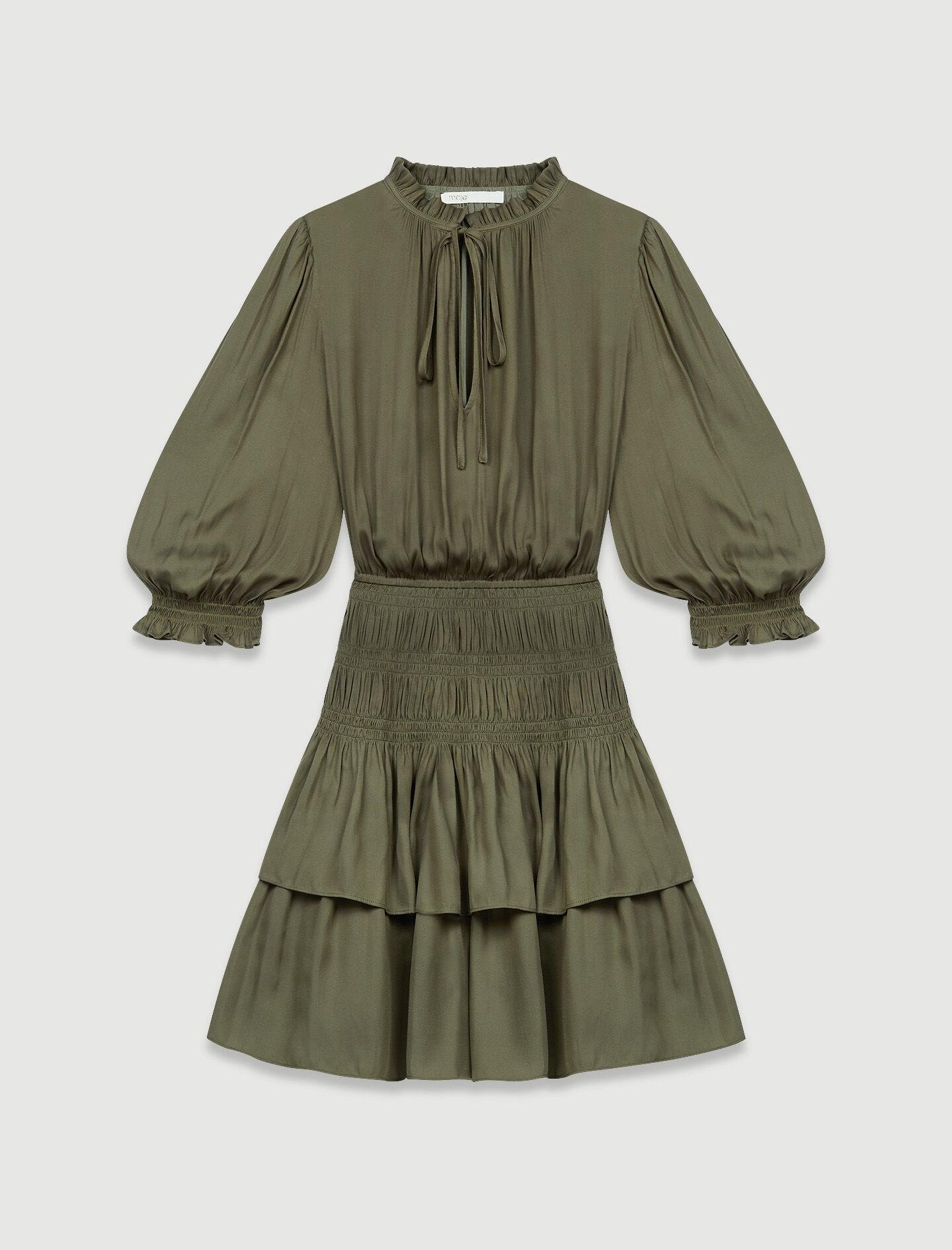SATIN DRESS WITH SMOCKING AND RUFFLES 5
