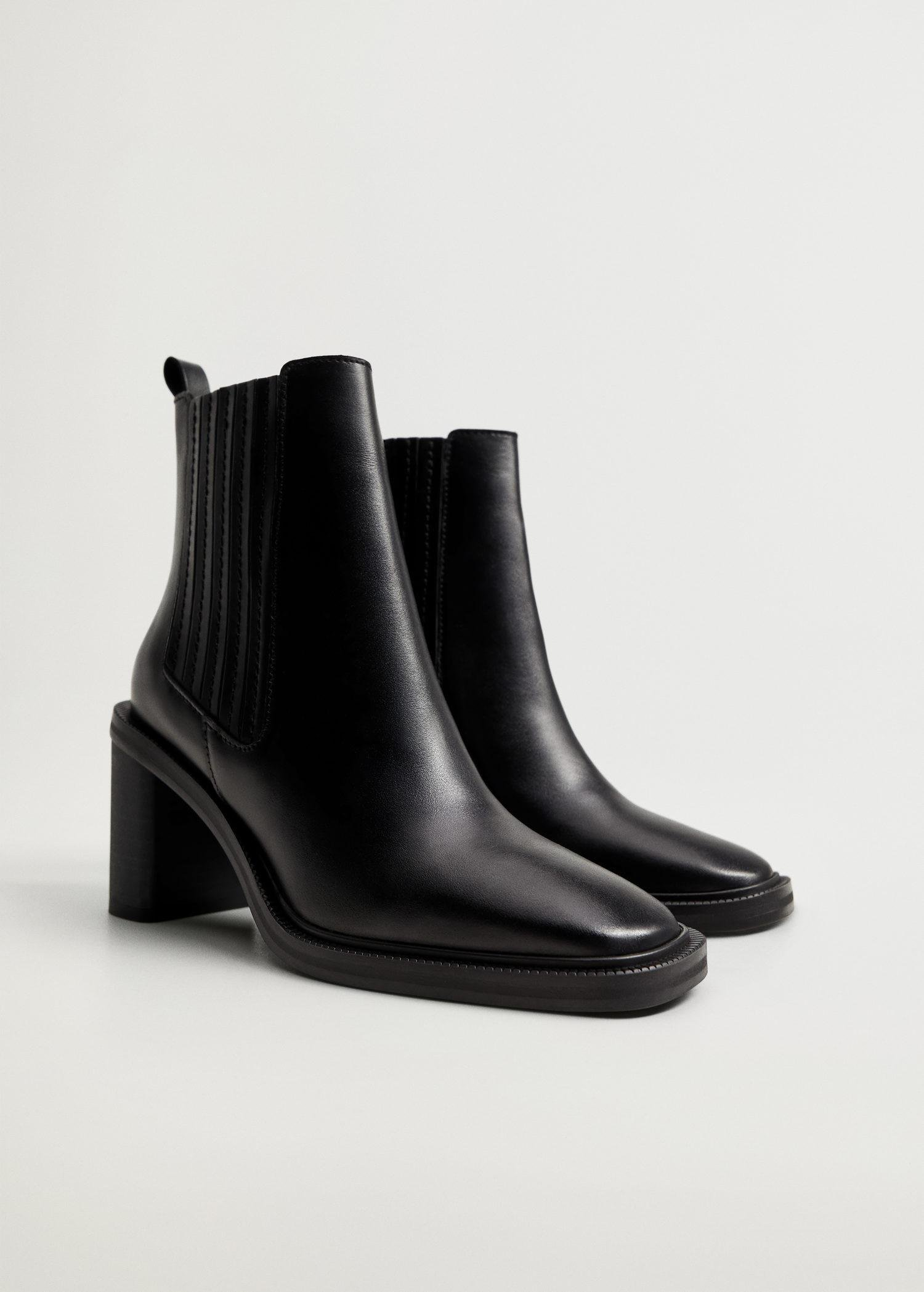 Elastic panels leather ankle boots 1