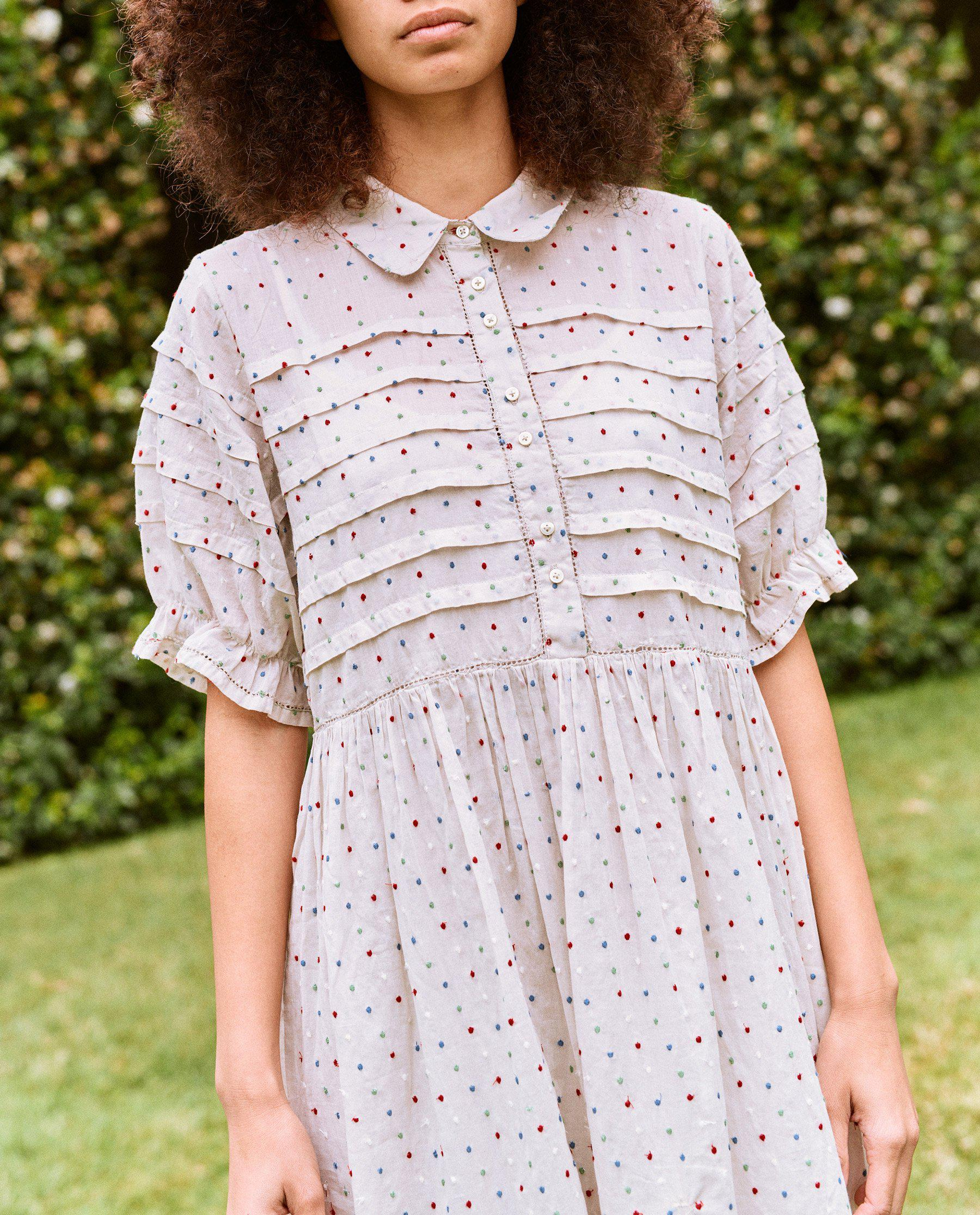 The Embroidered Dot Terrace Dress. -- Dove