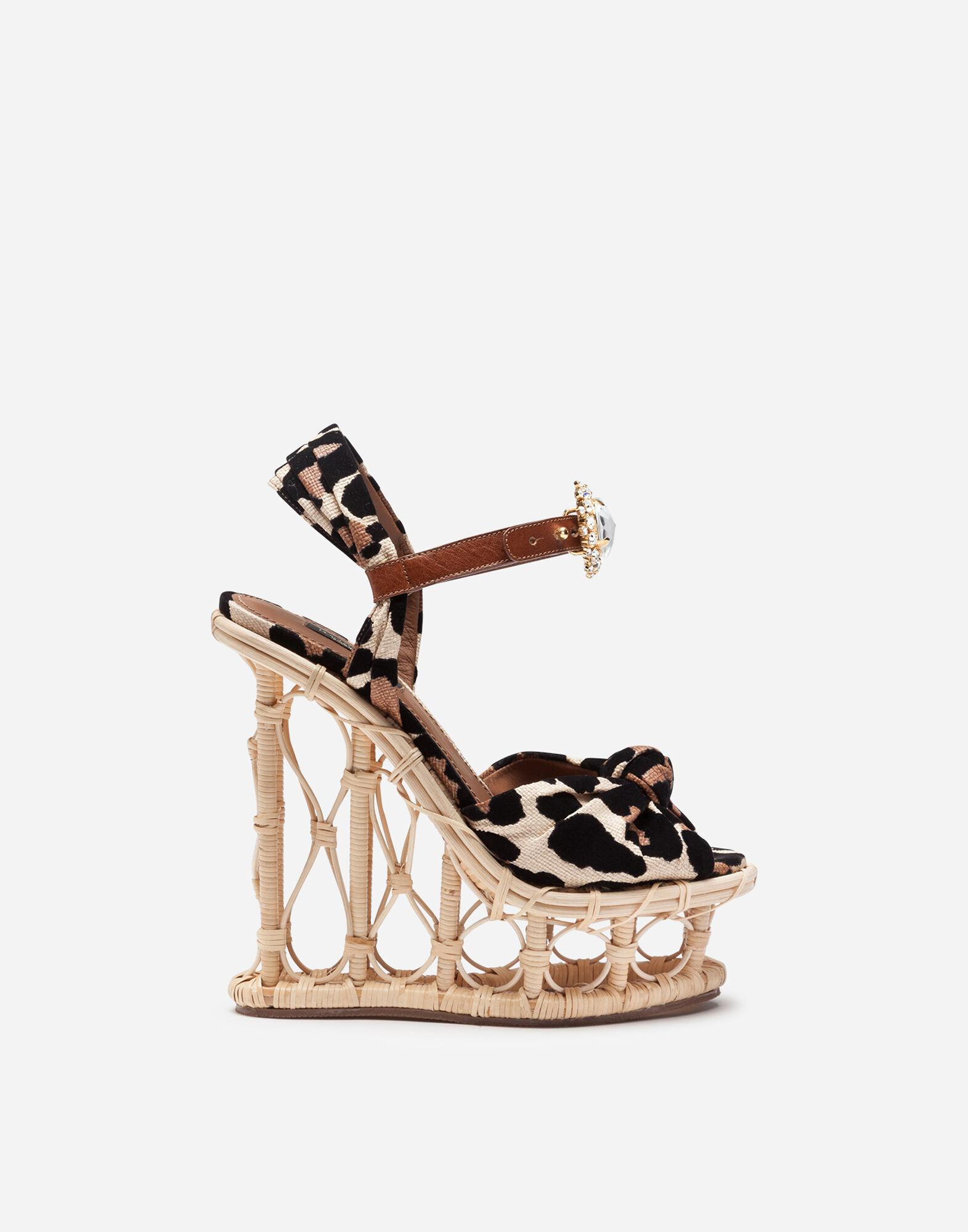 Wedges in wicker and raffia with flocked leopard print and bejeweled buckle