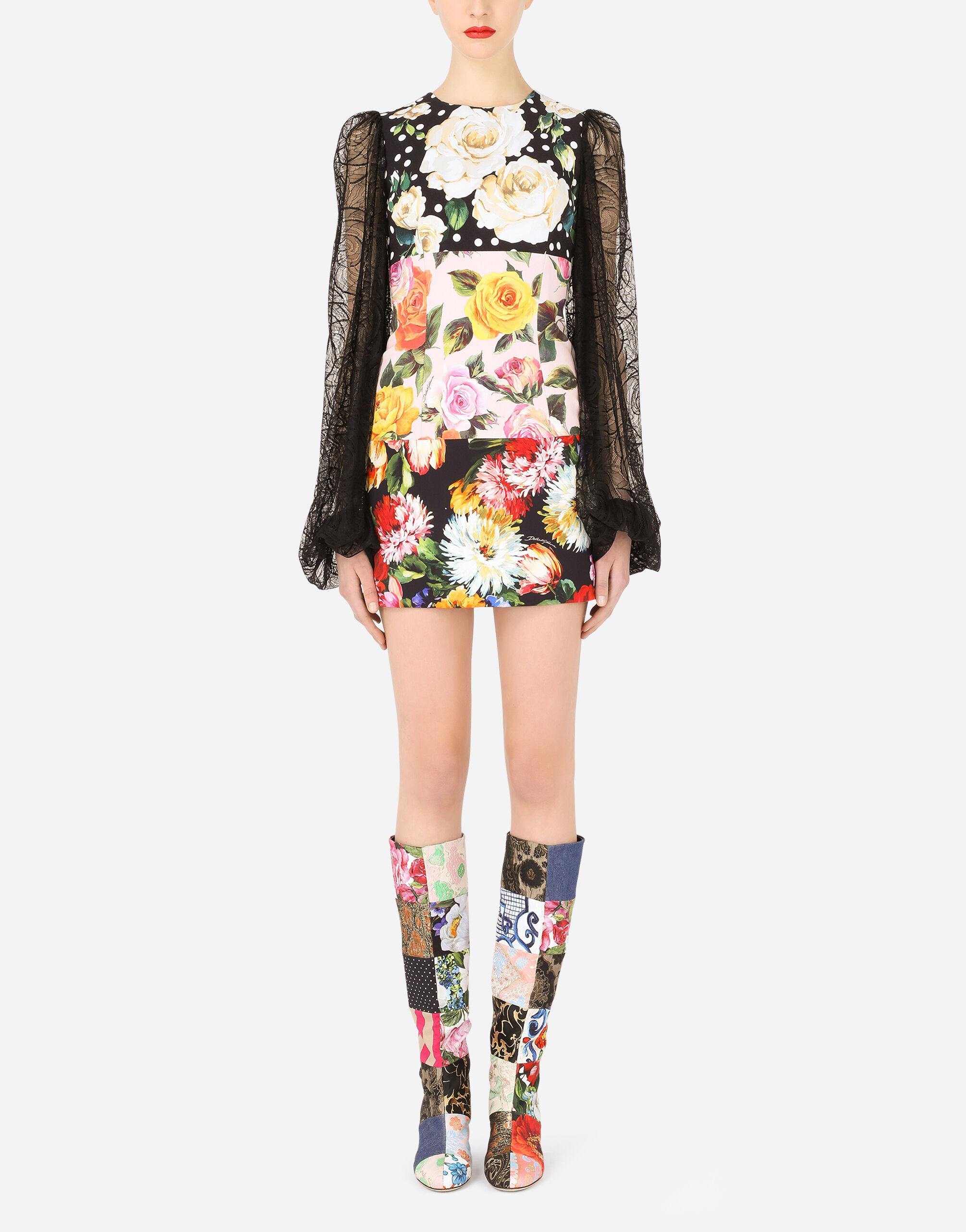 Short patchwork cady dress with lace sleeves