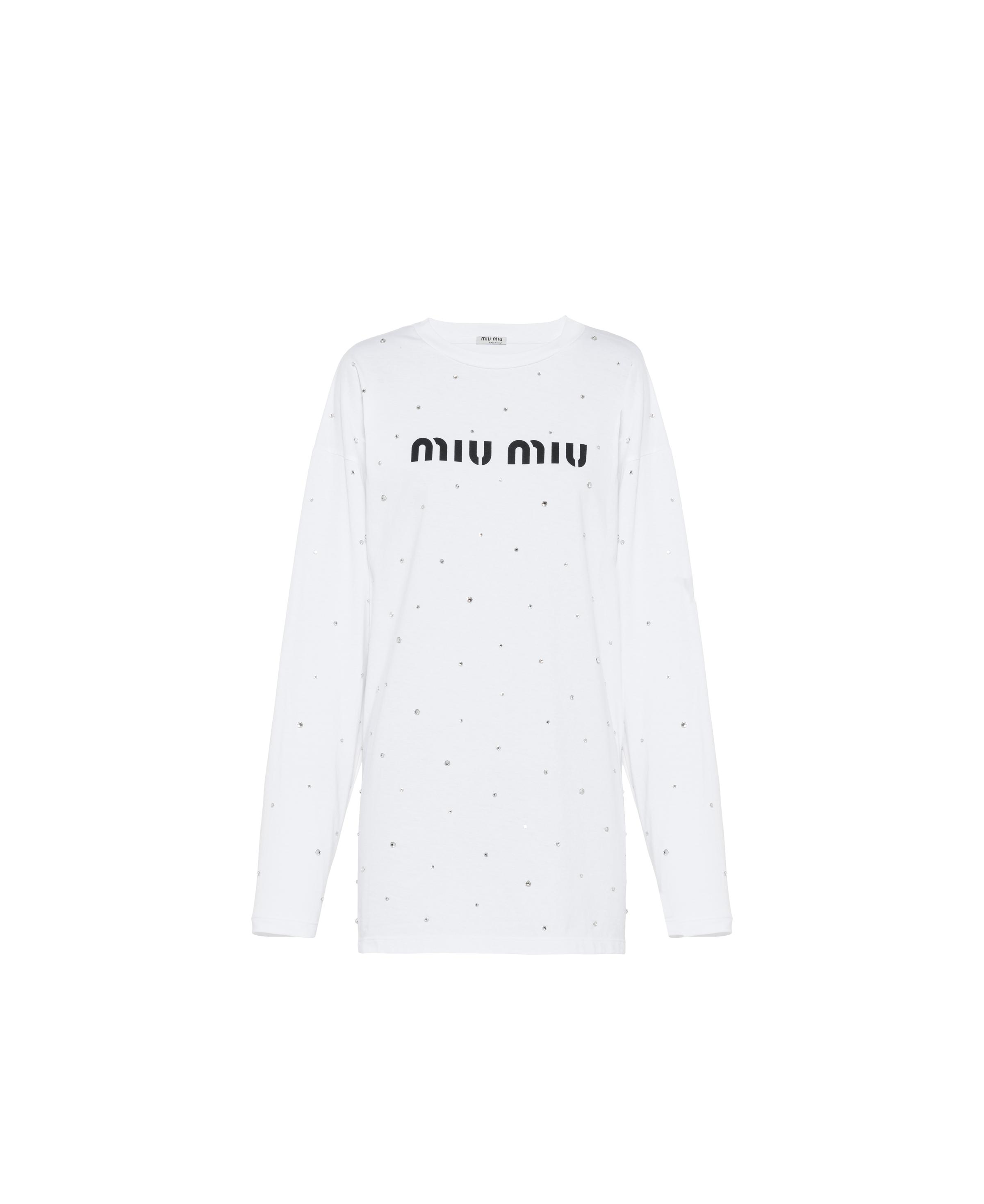 Long-sleeved Embroidered Jersey T-shirt Women White