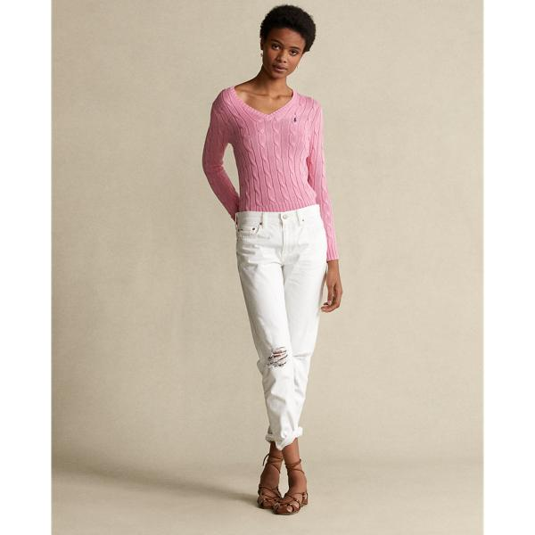 Cable-Knit Cotton V-Neck Sweater