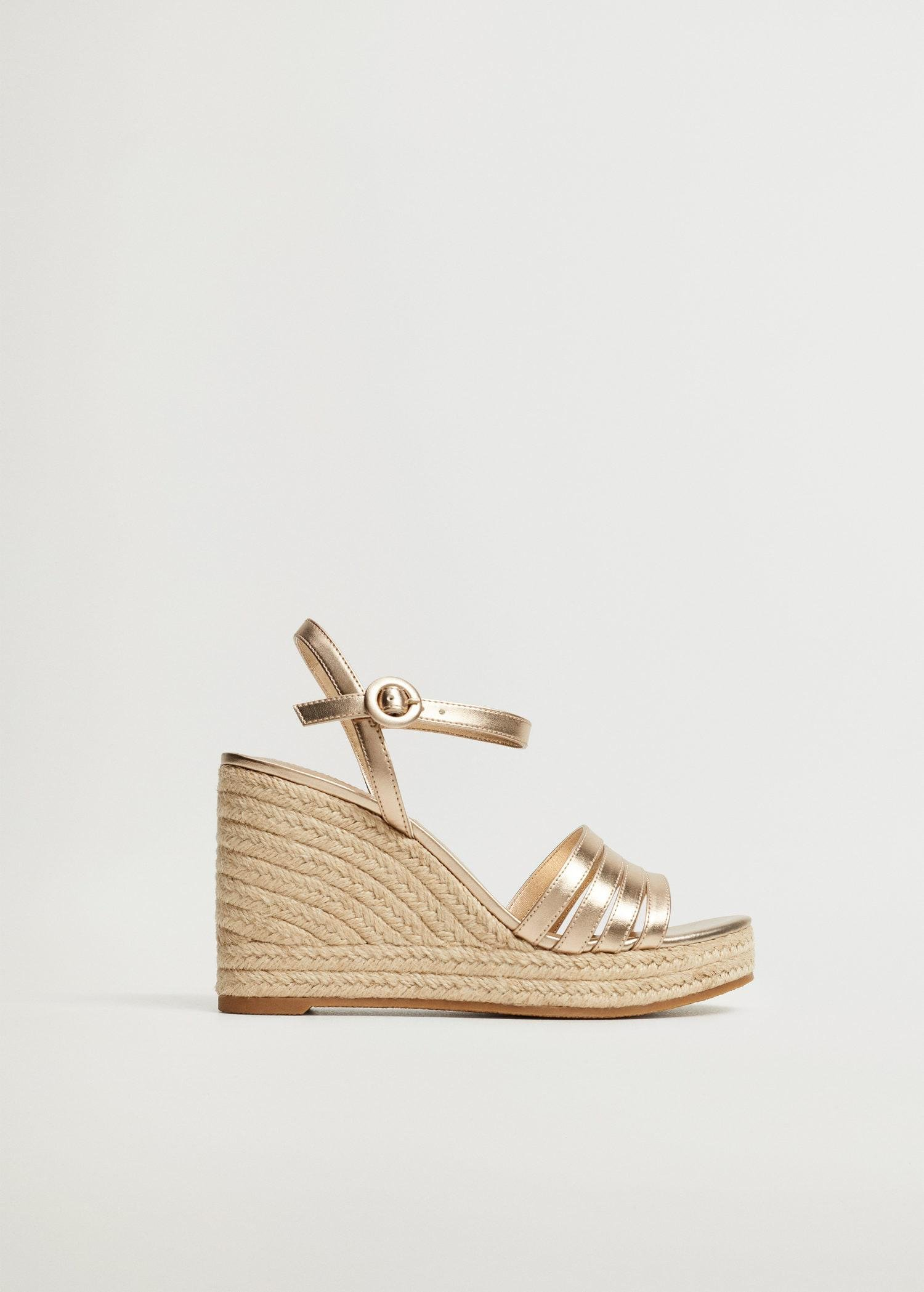 Metallic wedge sandals with straps