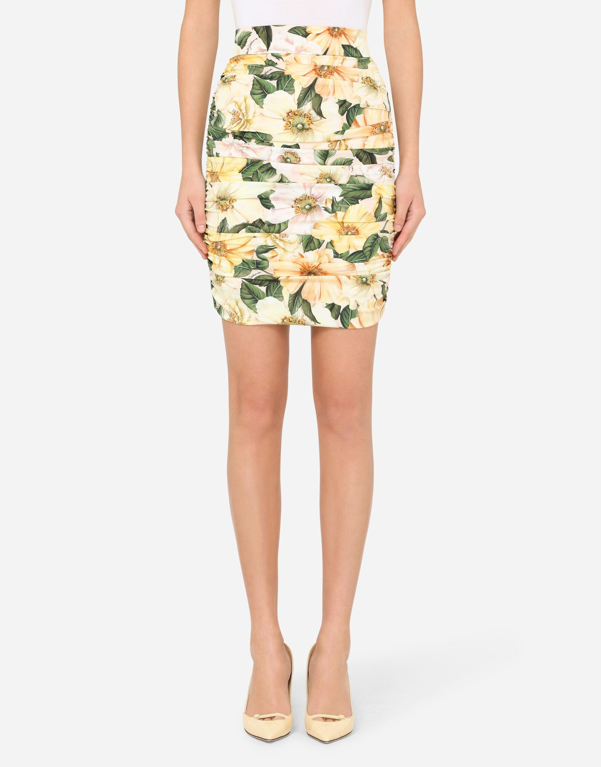 Short camellia-print charmeuse skirt with draping
