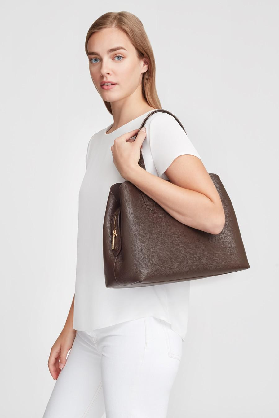 Women's Zippered Satchel Bag in Chocolate | Pebbled Leather by Cuyana 4
