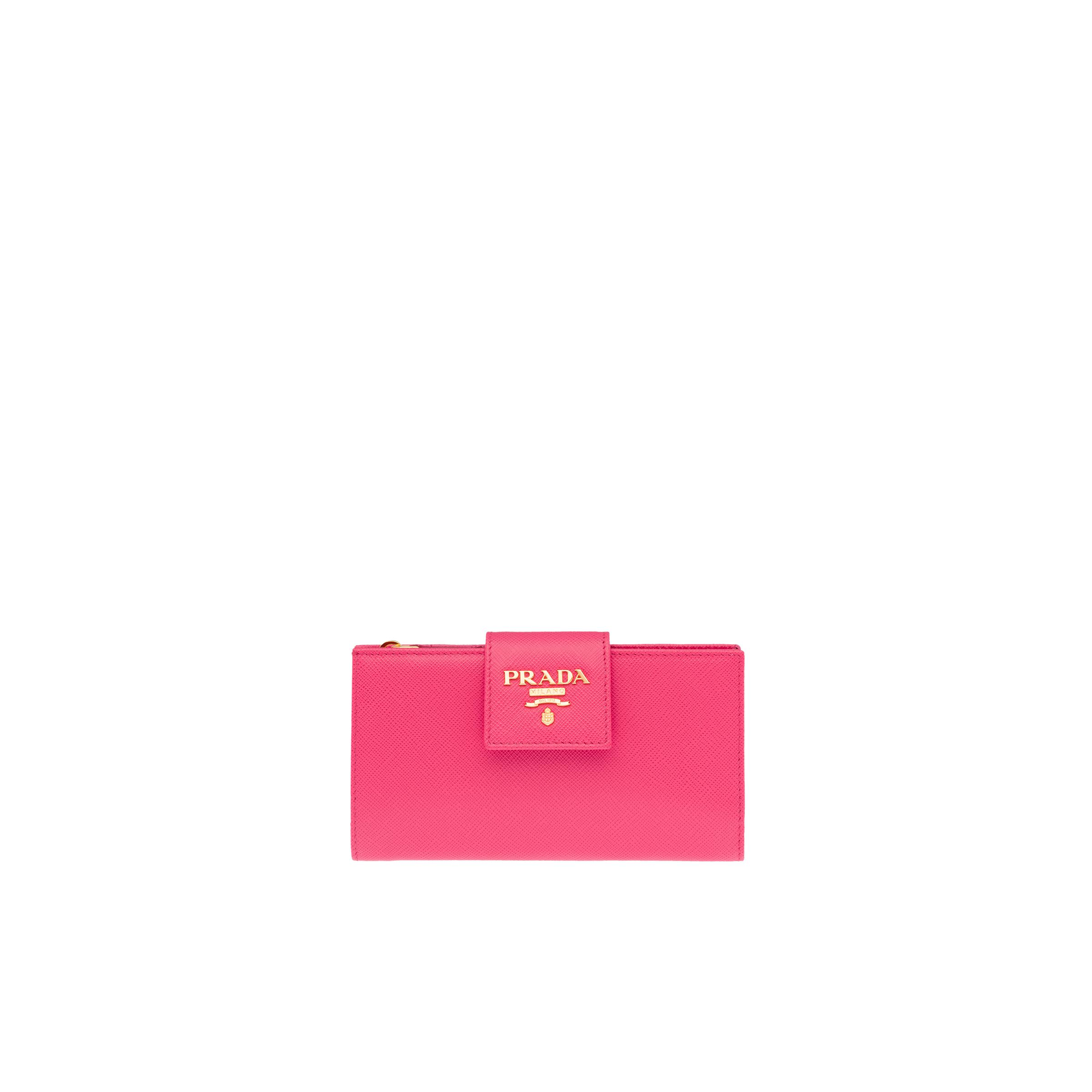 Small Saffiano Leather Wallet Women Peony Pink