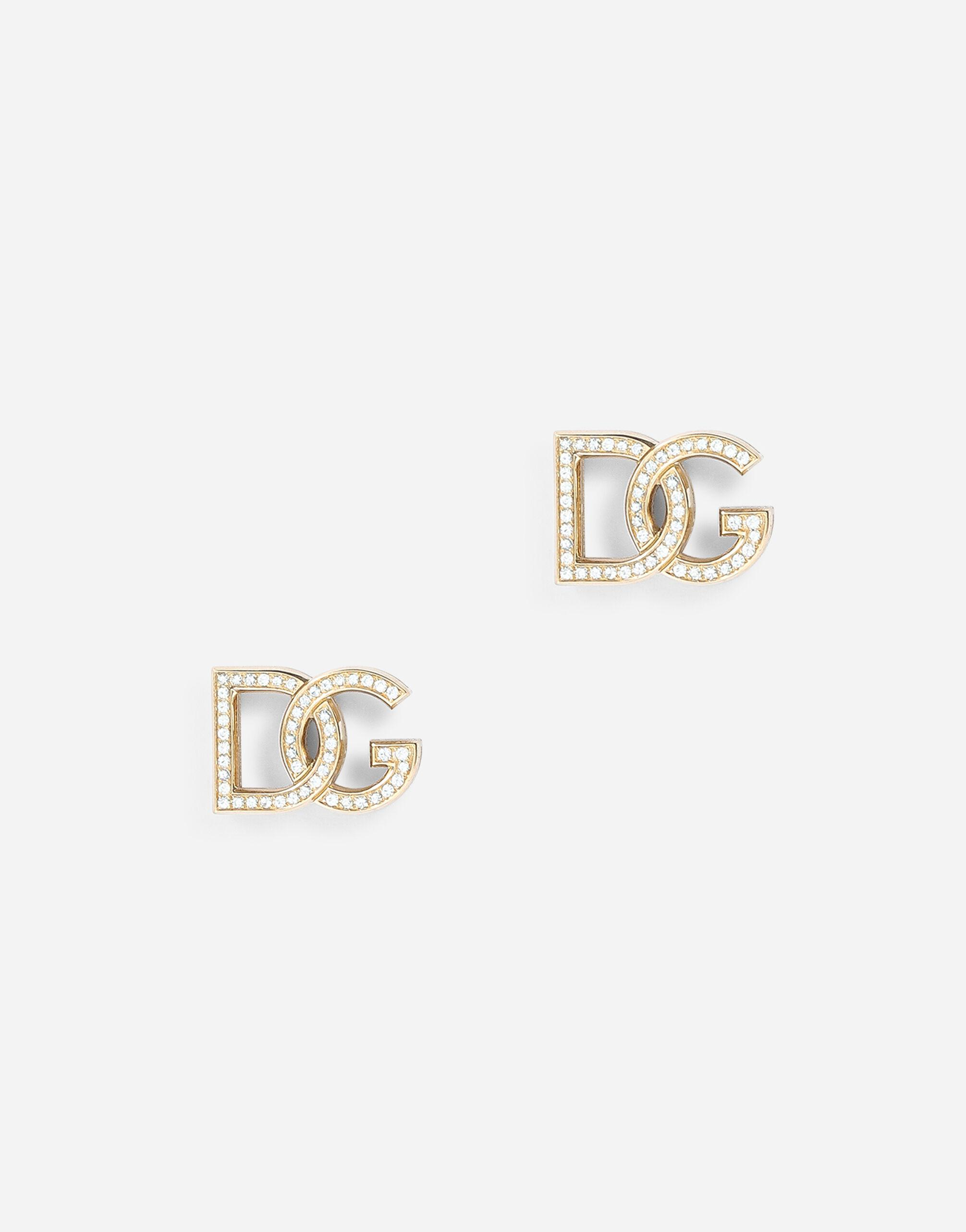 Logo earrings in yellow 18kt gold with colorless sapphires
