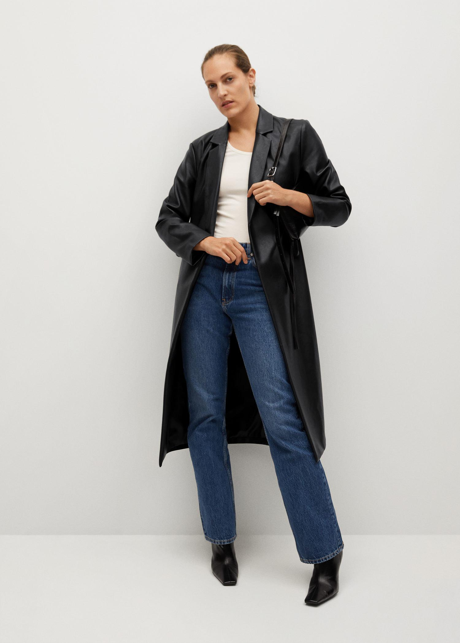 Leather-effect coat with belt 1