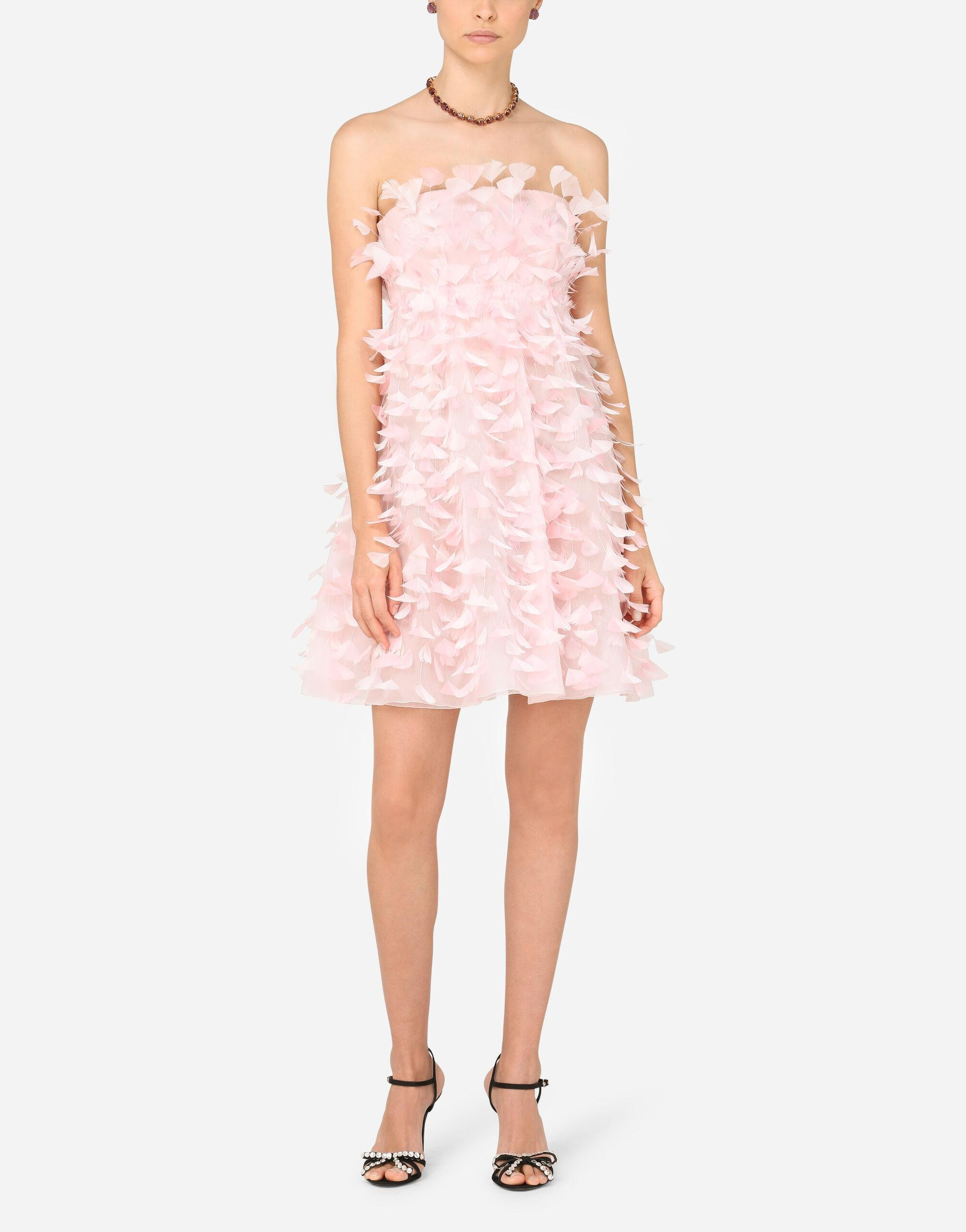 Short organza dress with feather embellishment 4