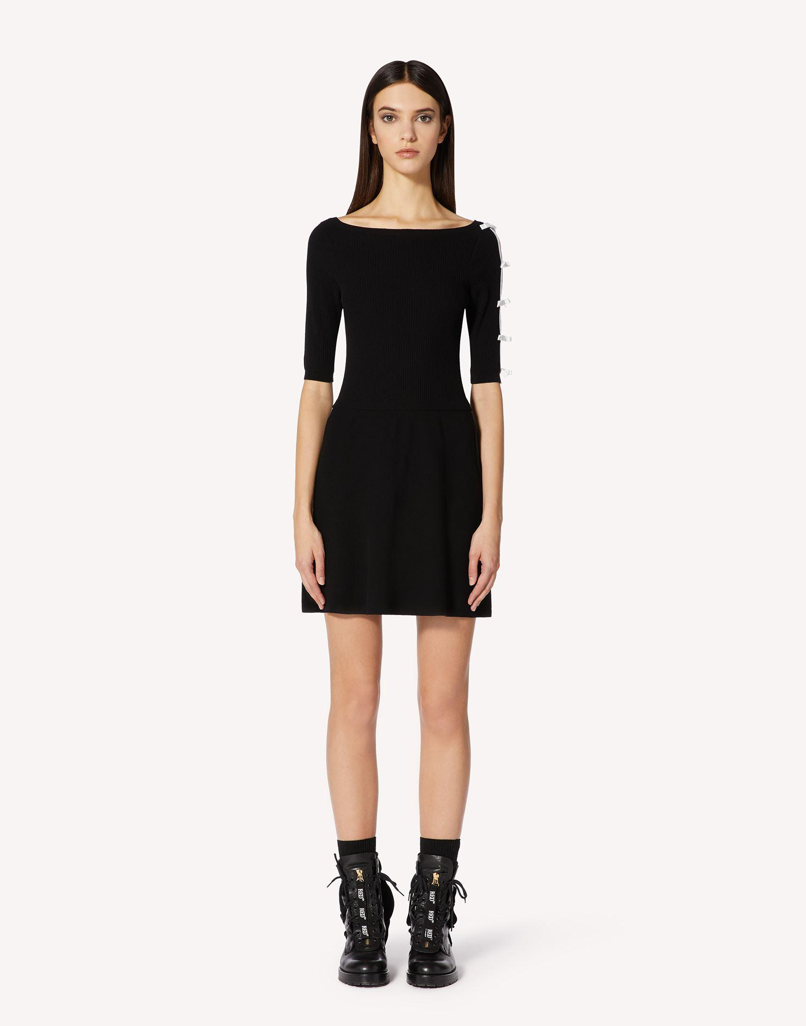STRETCH VISCOSE KNIT DRESS WITH BOW DETAILS
