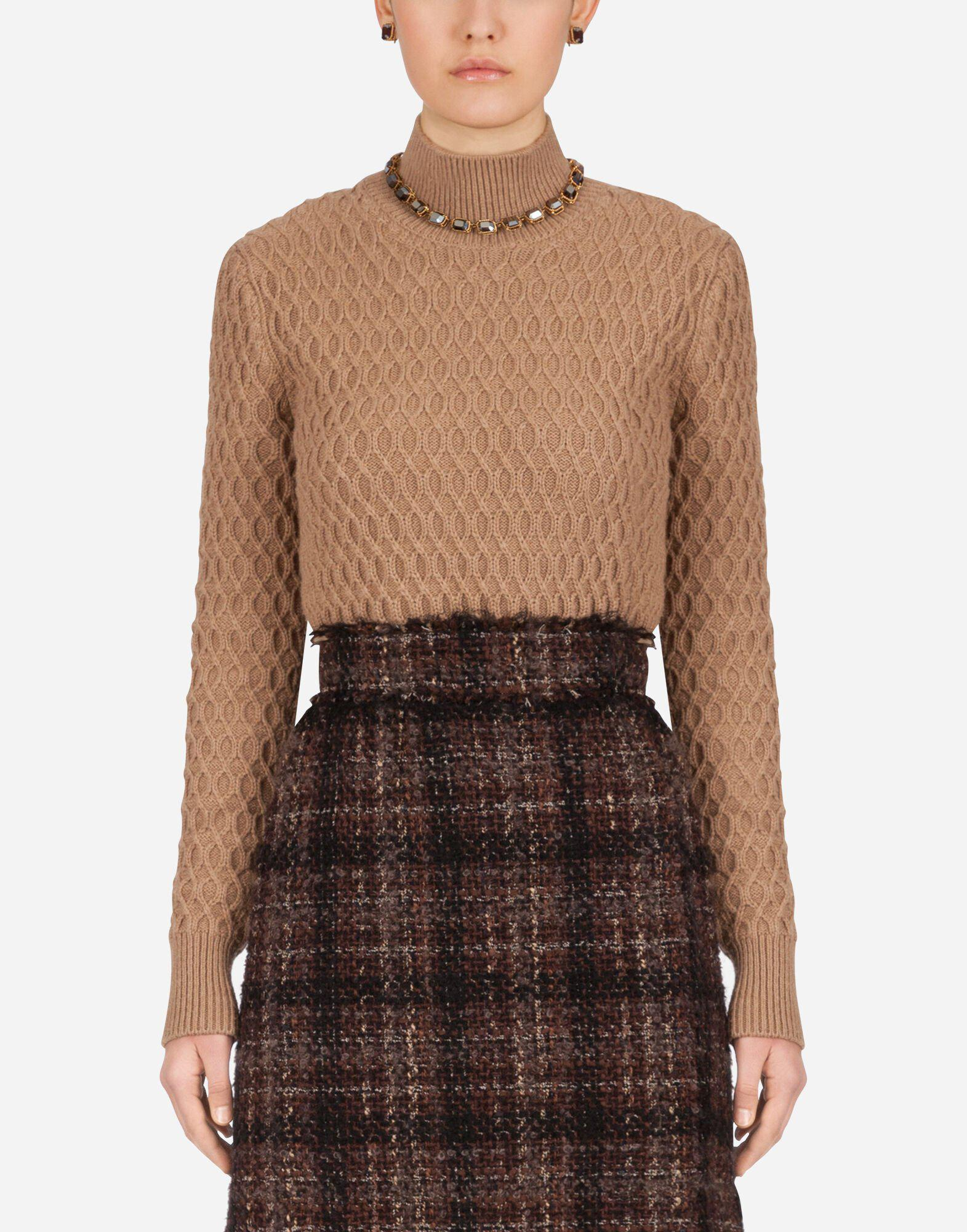 High-neck sweater in camel with rhombus stitch