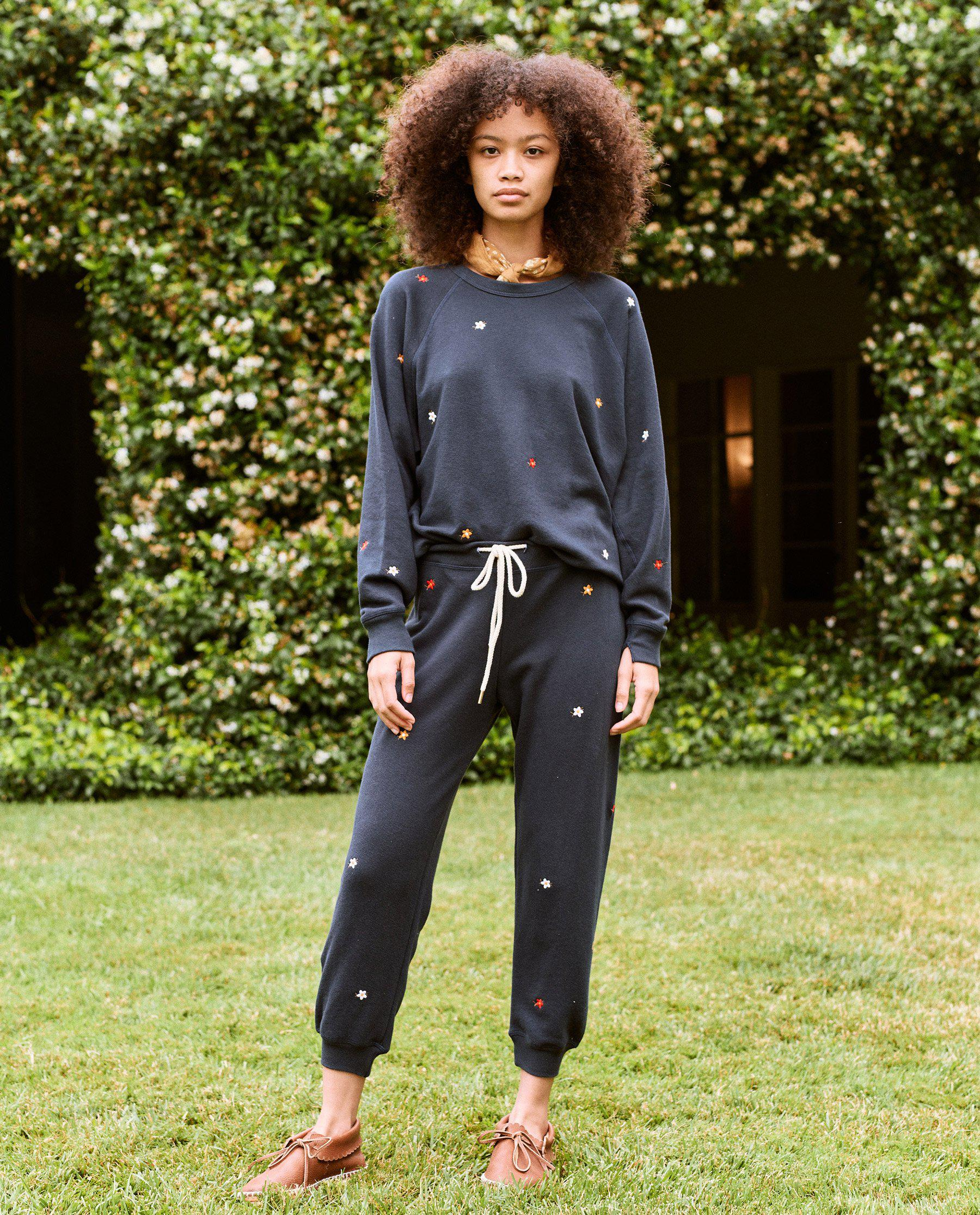 The Cropped Sweatpant. Embroidered -- Navy with Seed Floral Embroidery