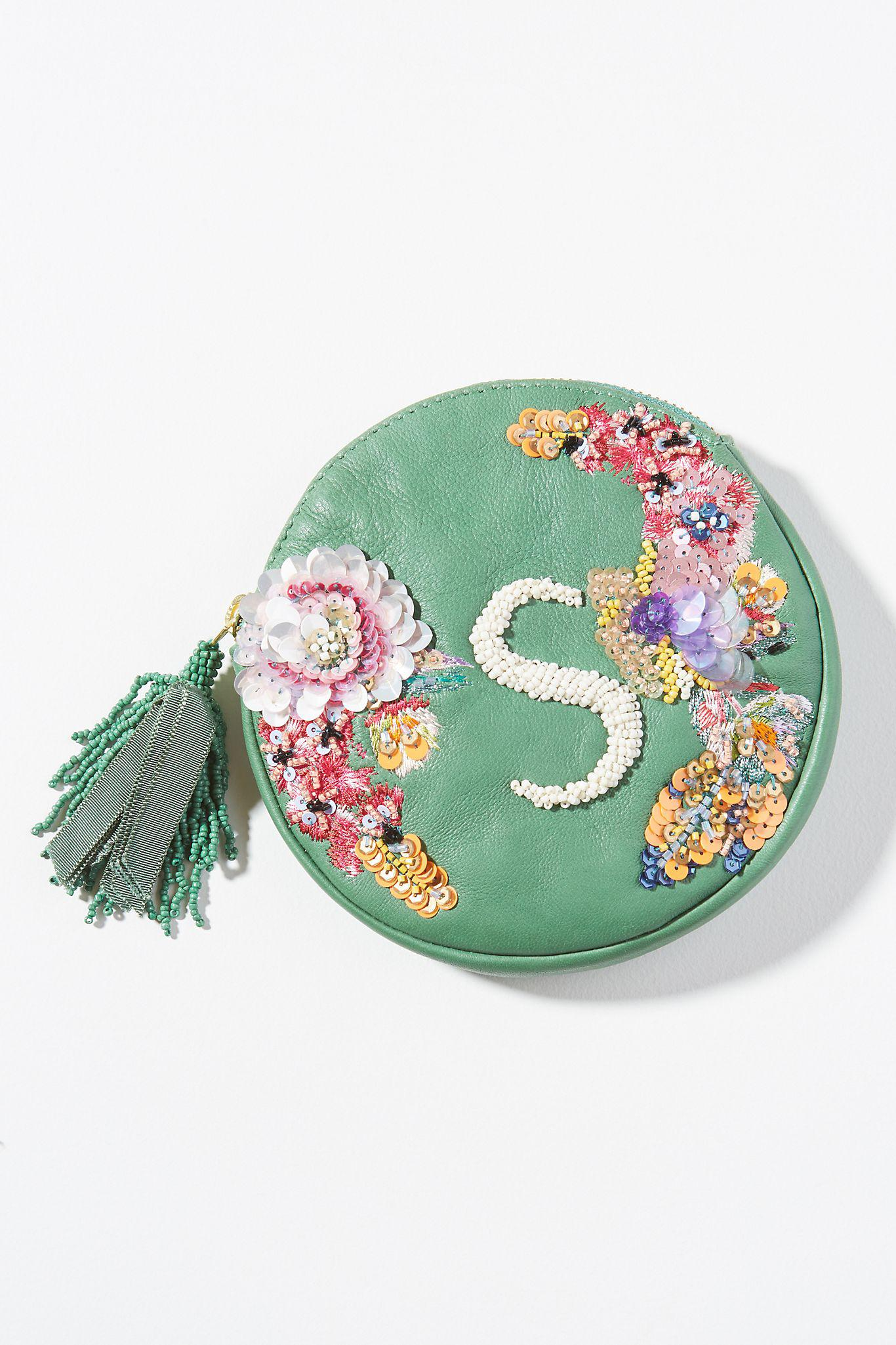 Embellished Leather Monogram Pouch