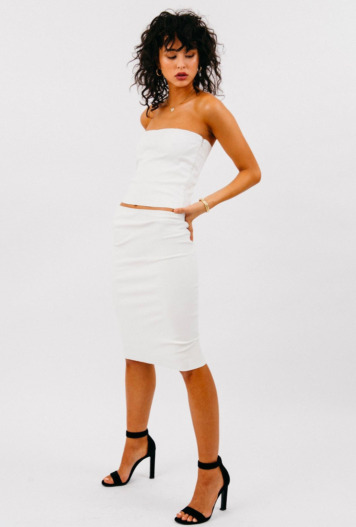 White Leather Pencil Skirt