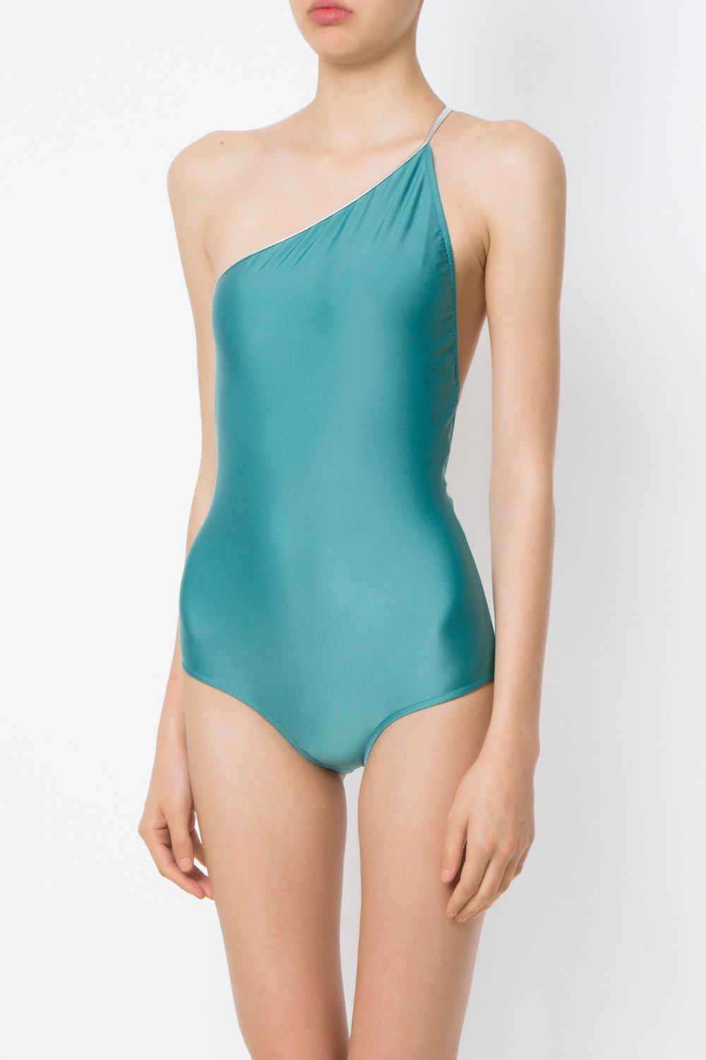 Arara One Shoulder Swimsuit with Silver Ties 0