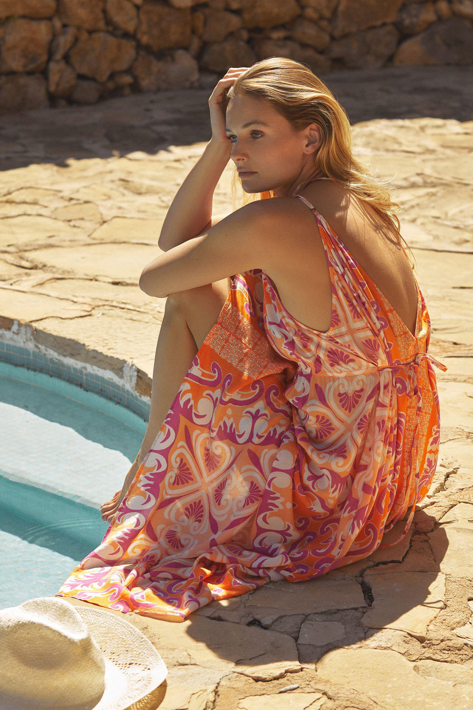 Abstract Midi Cover-Up Dress