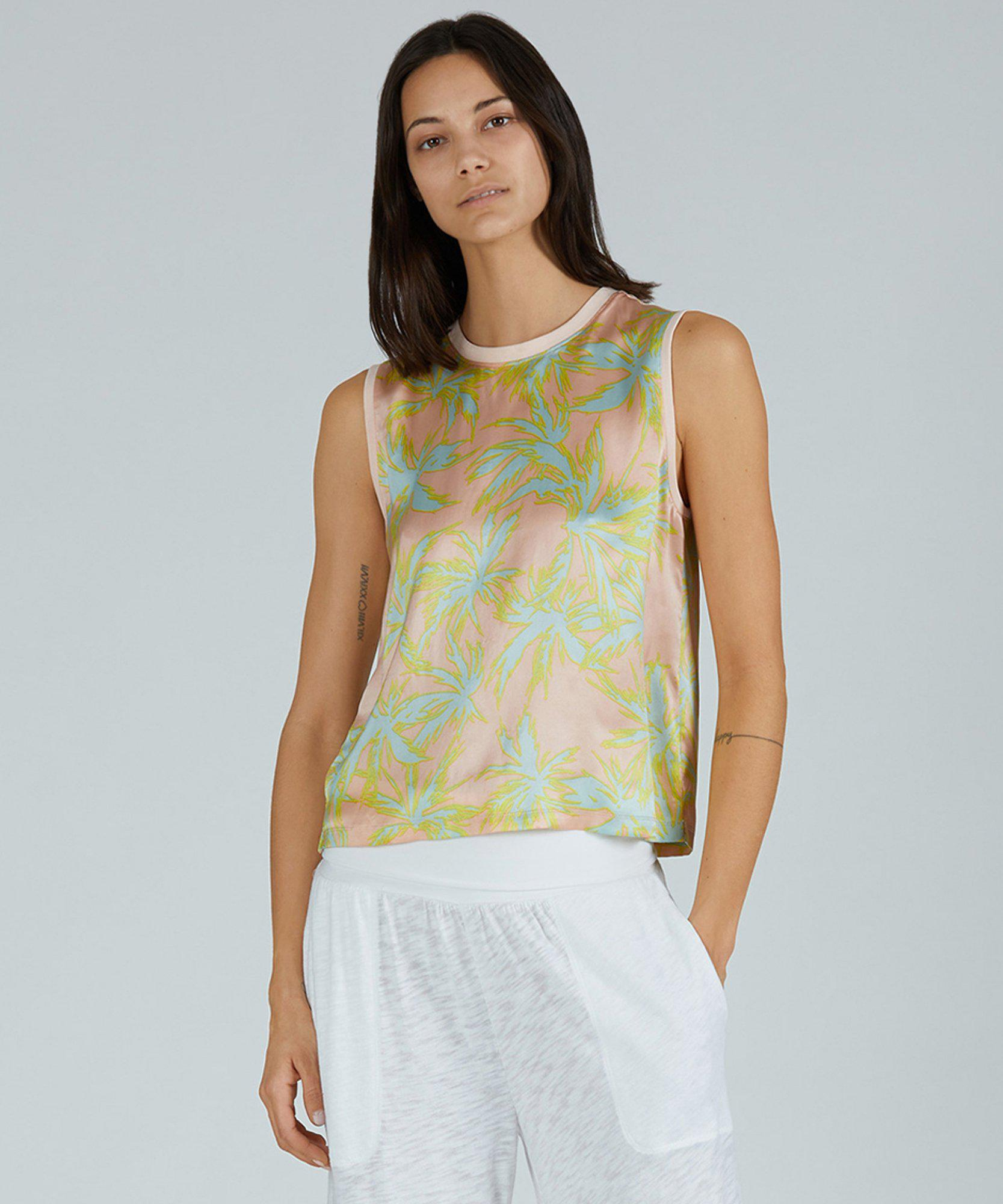 Palm Print Silk Charmeuse Cropped Muscle Tee - Shell Combo 1